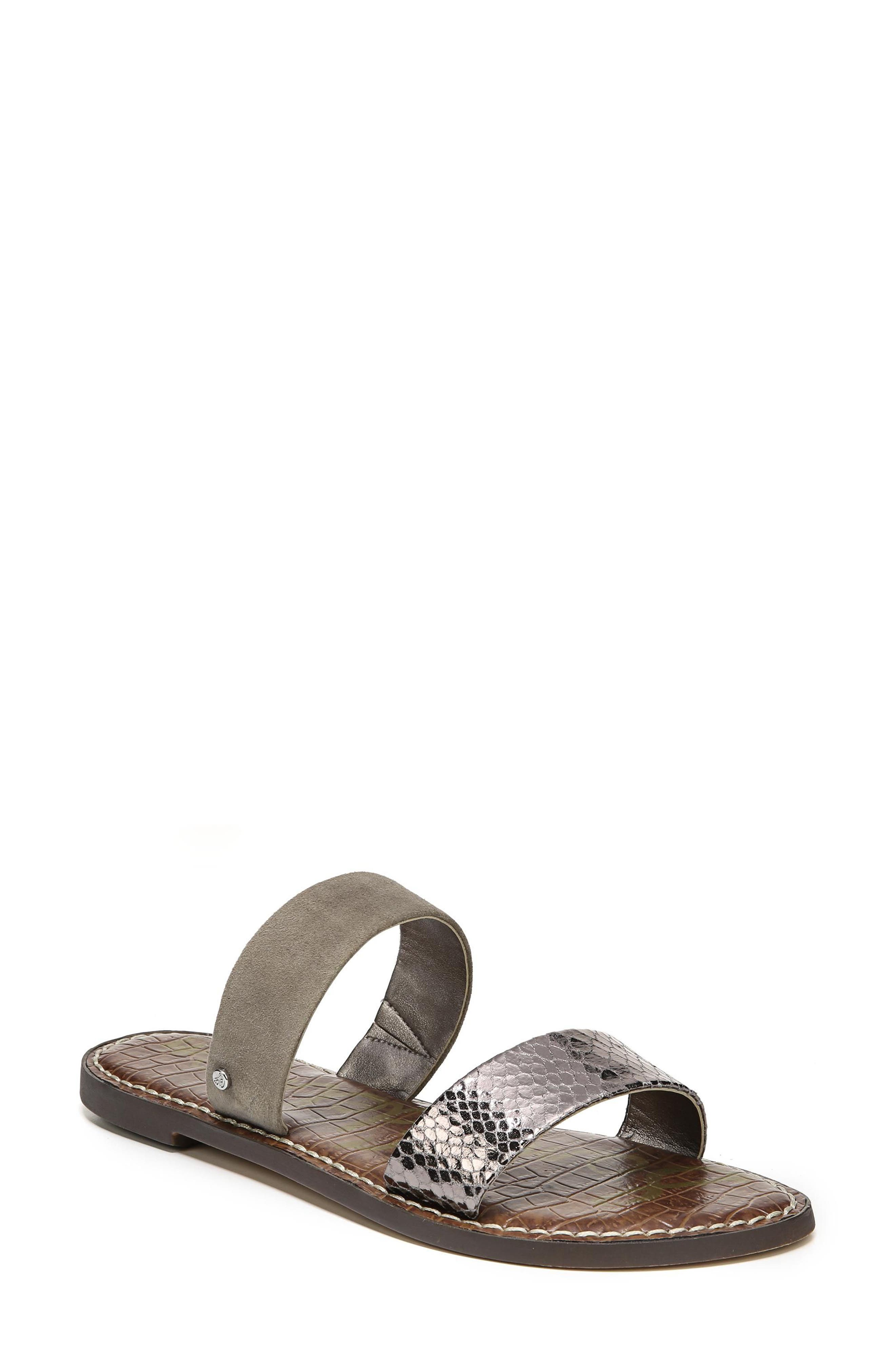 Gala Two Strap Slide Sandal,                         Main,                         color, PEWTER/ PUTTY