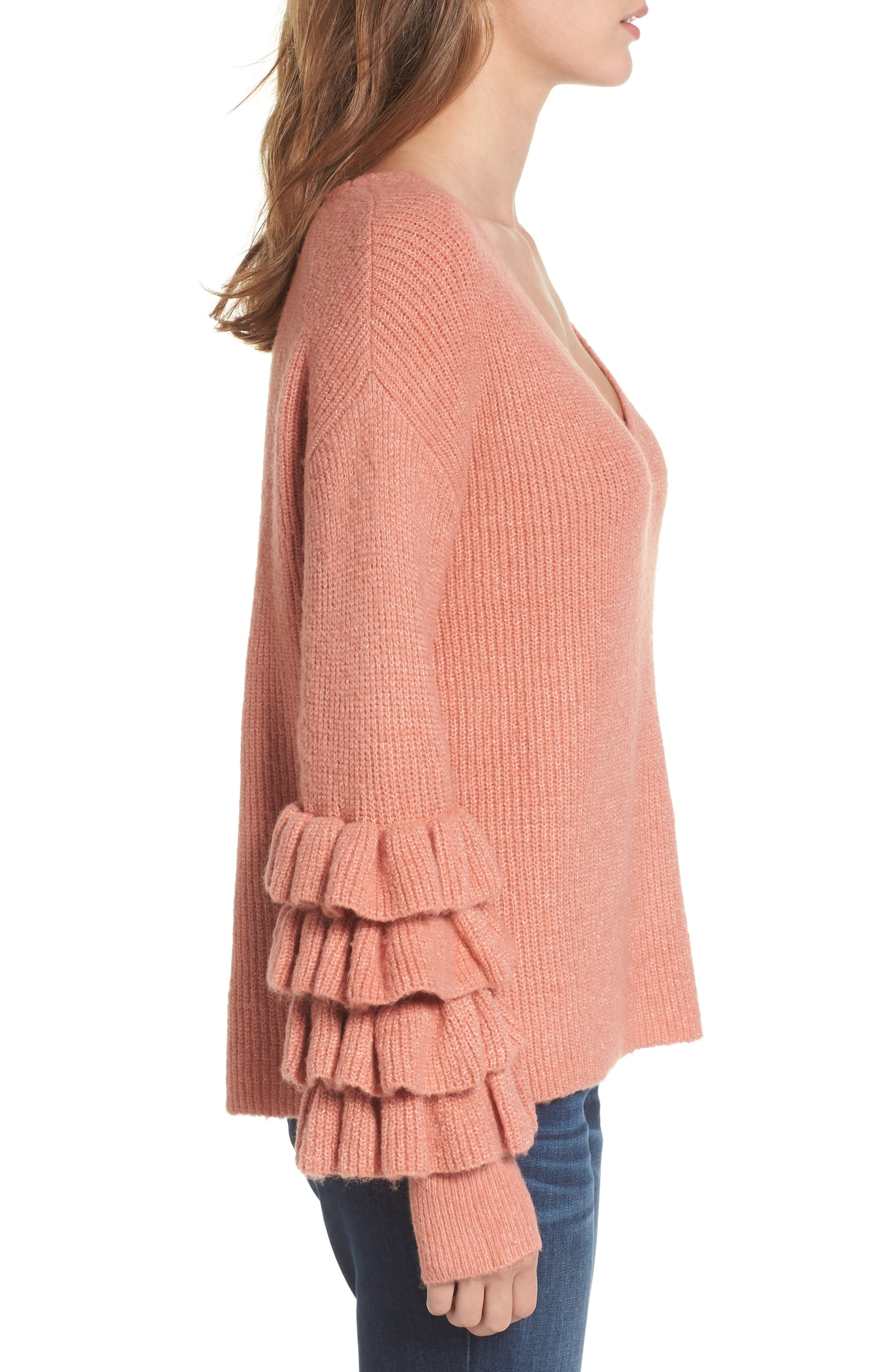 Ruffle Sleeve V-Neck Sweater,                             Alternate thumbnail 6, color,