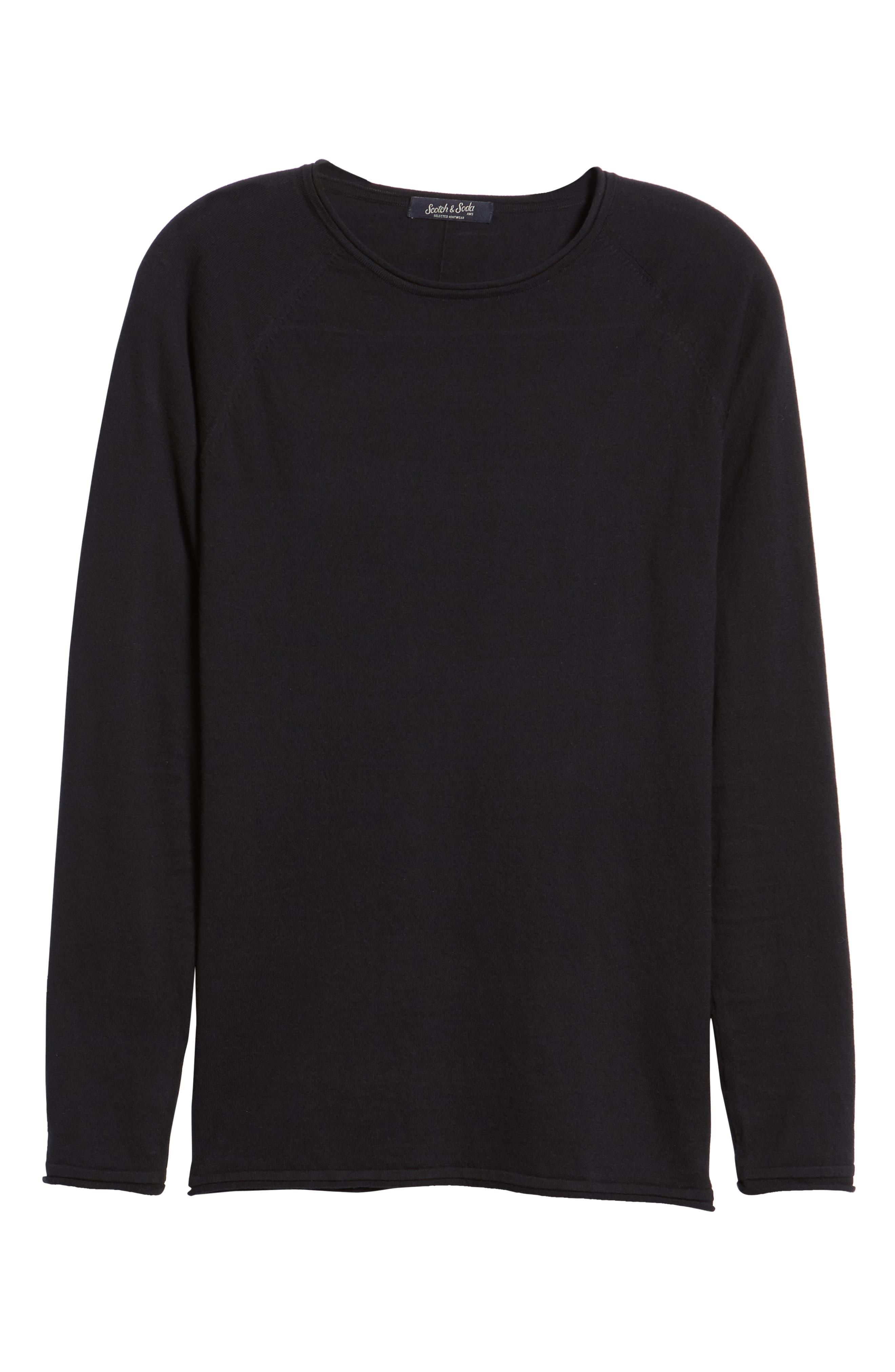 Crewneck Sweatshirt,                             Alternate thumbnail 6, color,                             BLACK