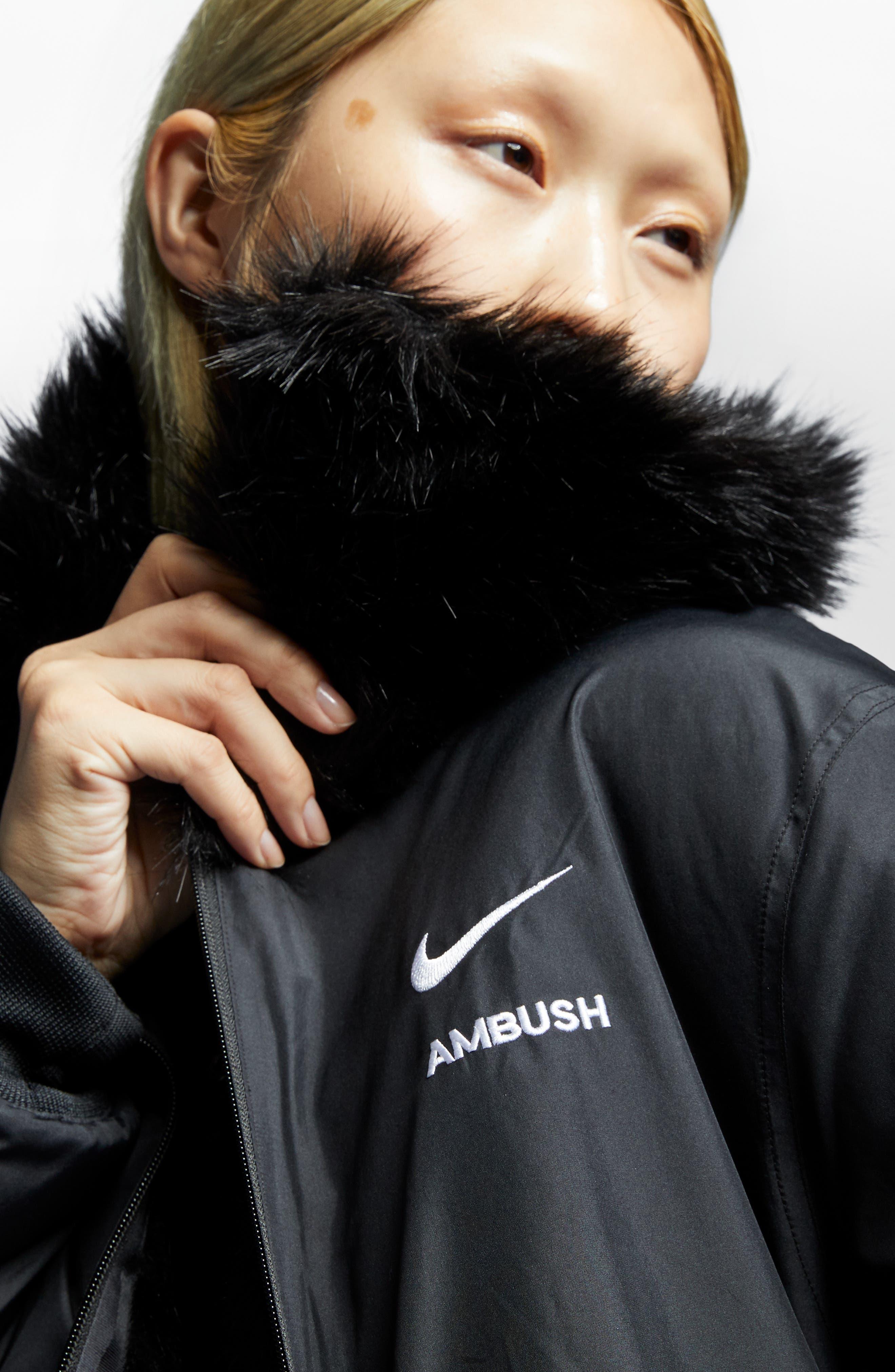 NIKE,                             x Ambush Women's Reversible Faux Fur Coat,                             Alternate thumbnail 6, color,                             010