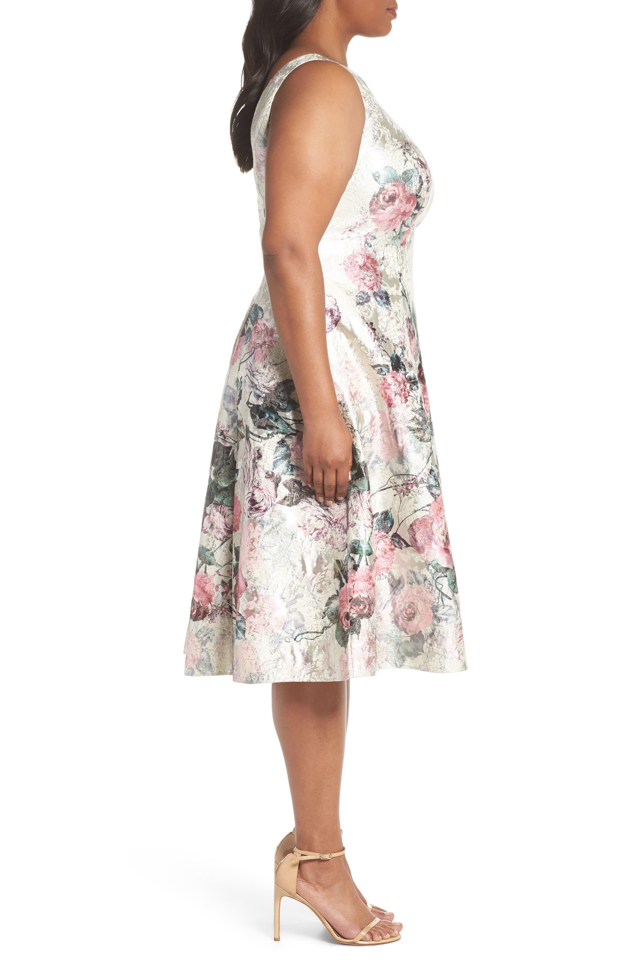 Print Jacquard Tea Length Dress,                             Alternate thumbnail 3, color,                             640
