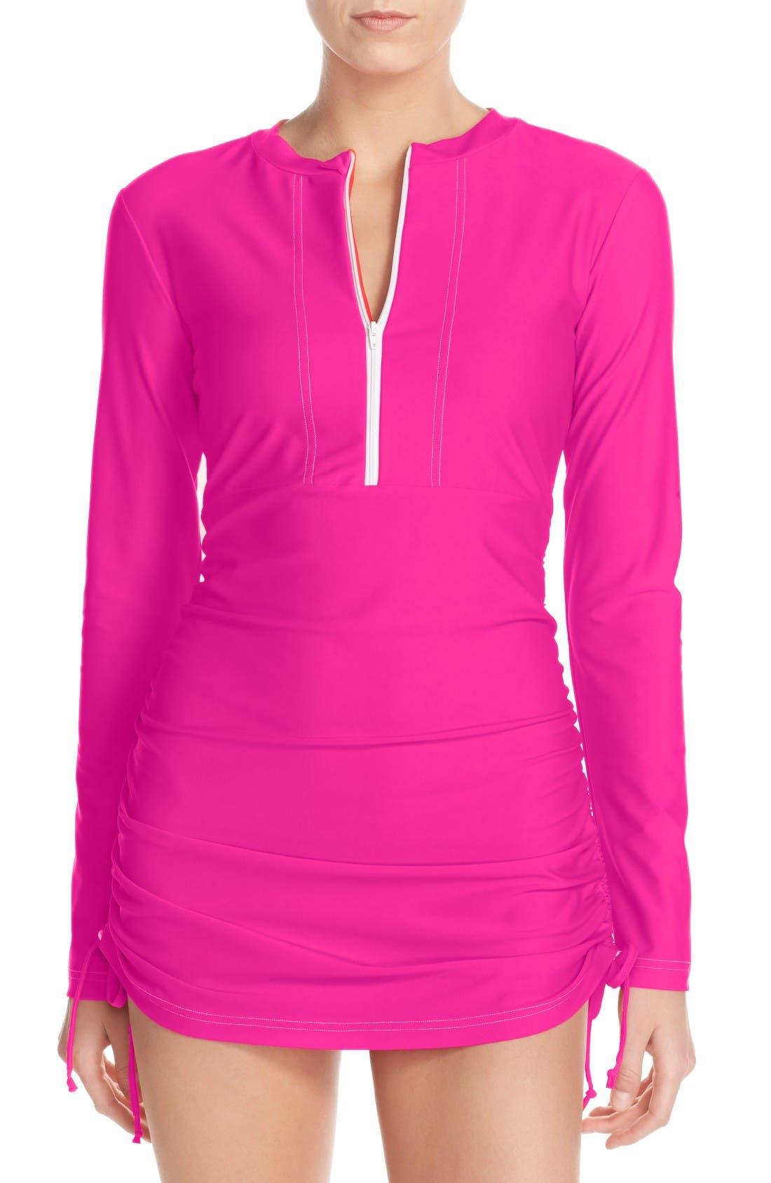 'Sonja' Long Sleeve Half Zip Convertible Swimdress,                             Main thumbnail 10, color,