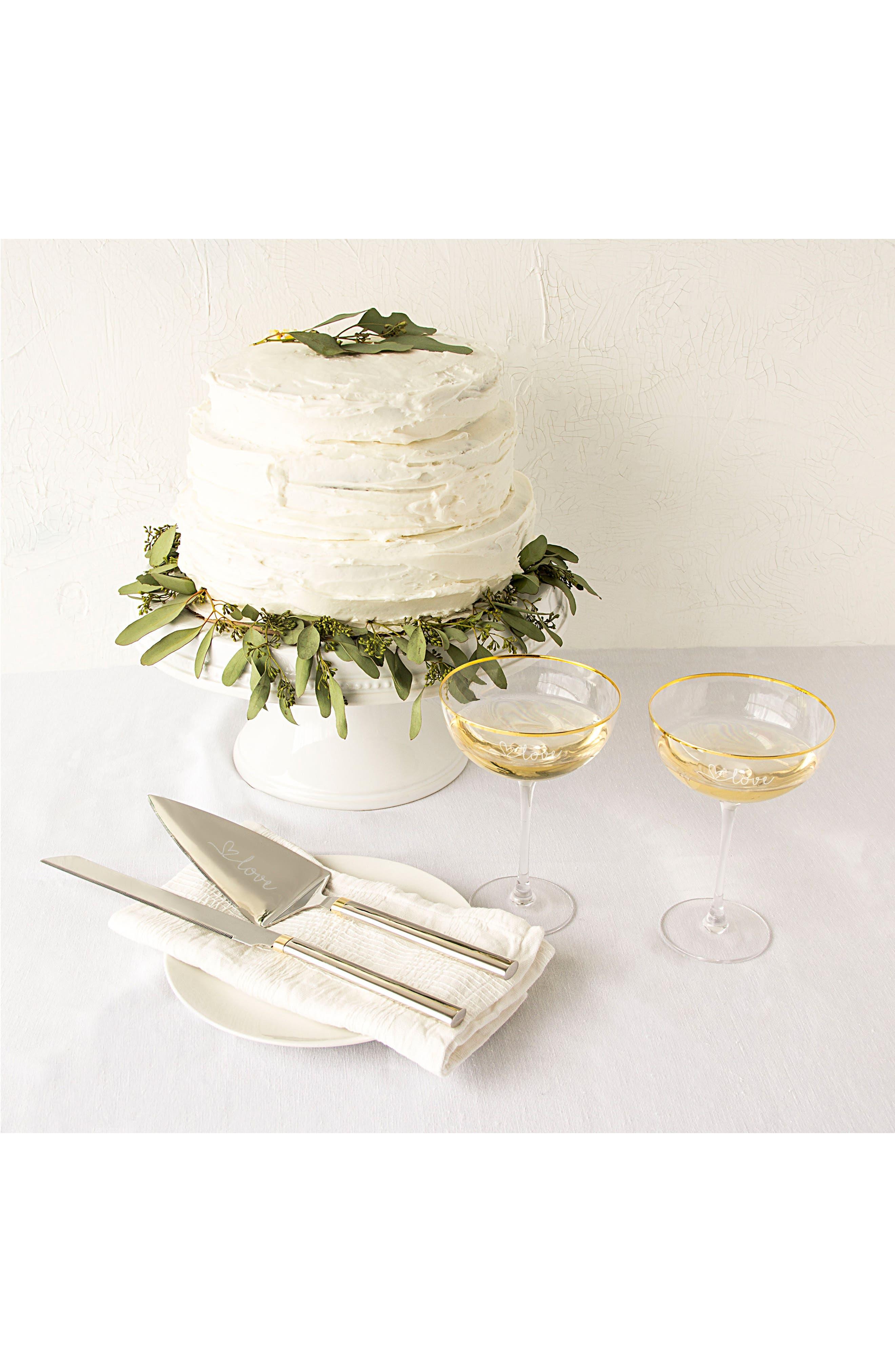 Gold Love Coupe Flutes & Cake Serving Set,                             Alternate thumbnail 2, color,