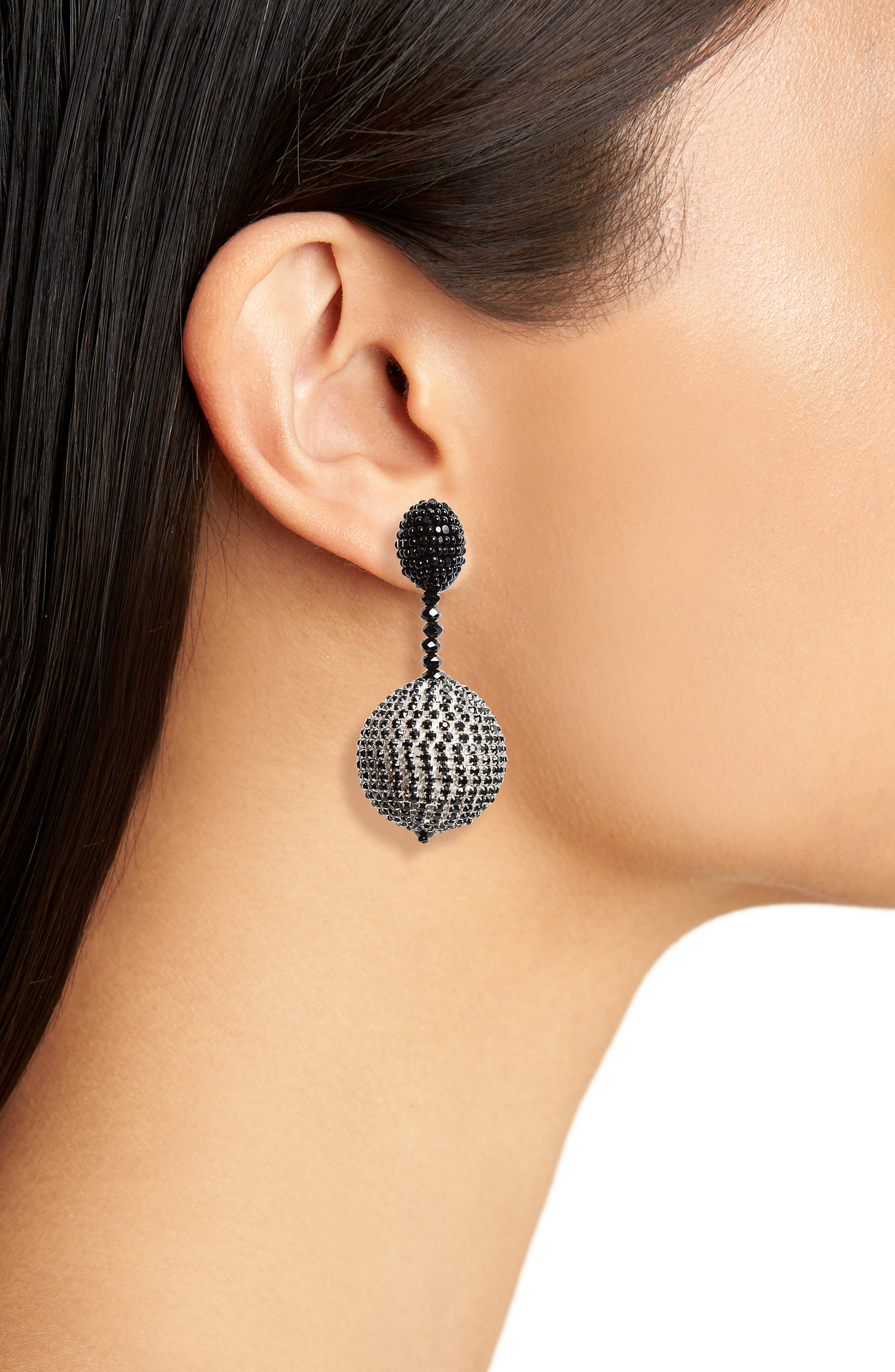 Beaded Drop Clip Earrings,                             Alternate thumbnail 3, color,
