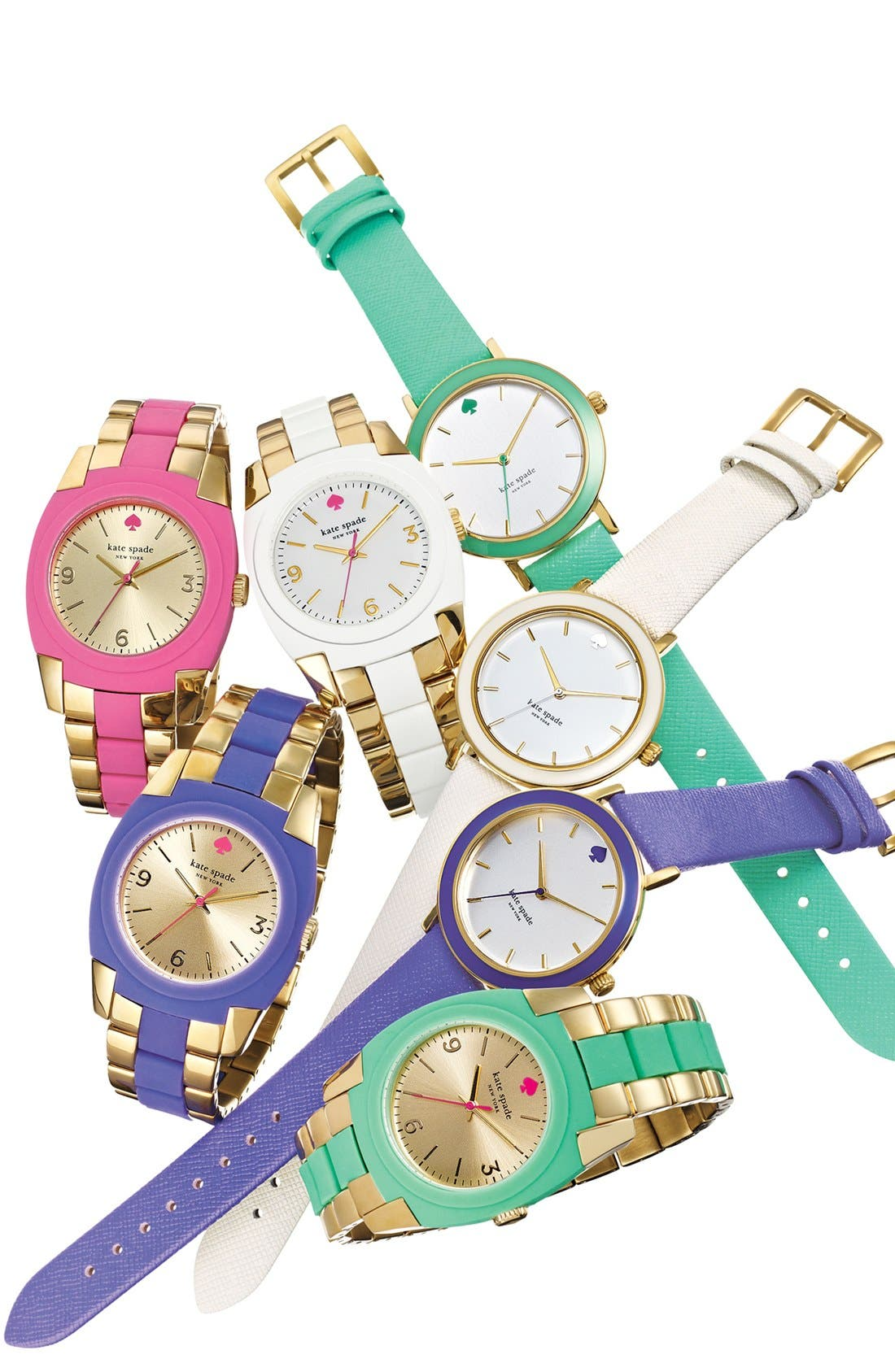 KATE SPADE NEW YORK,                             'metro' enamel bezel leather strap watch, 38mm,                             Alternate thumbnail 4, color,                             100