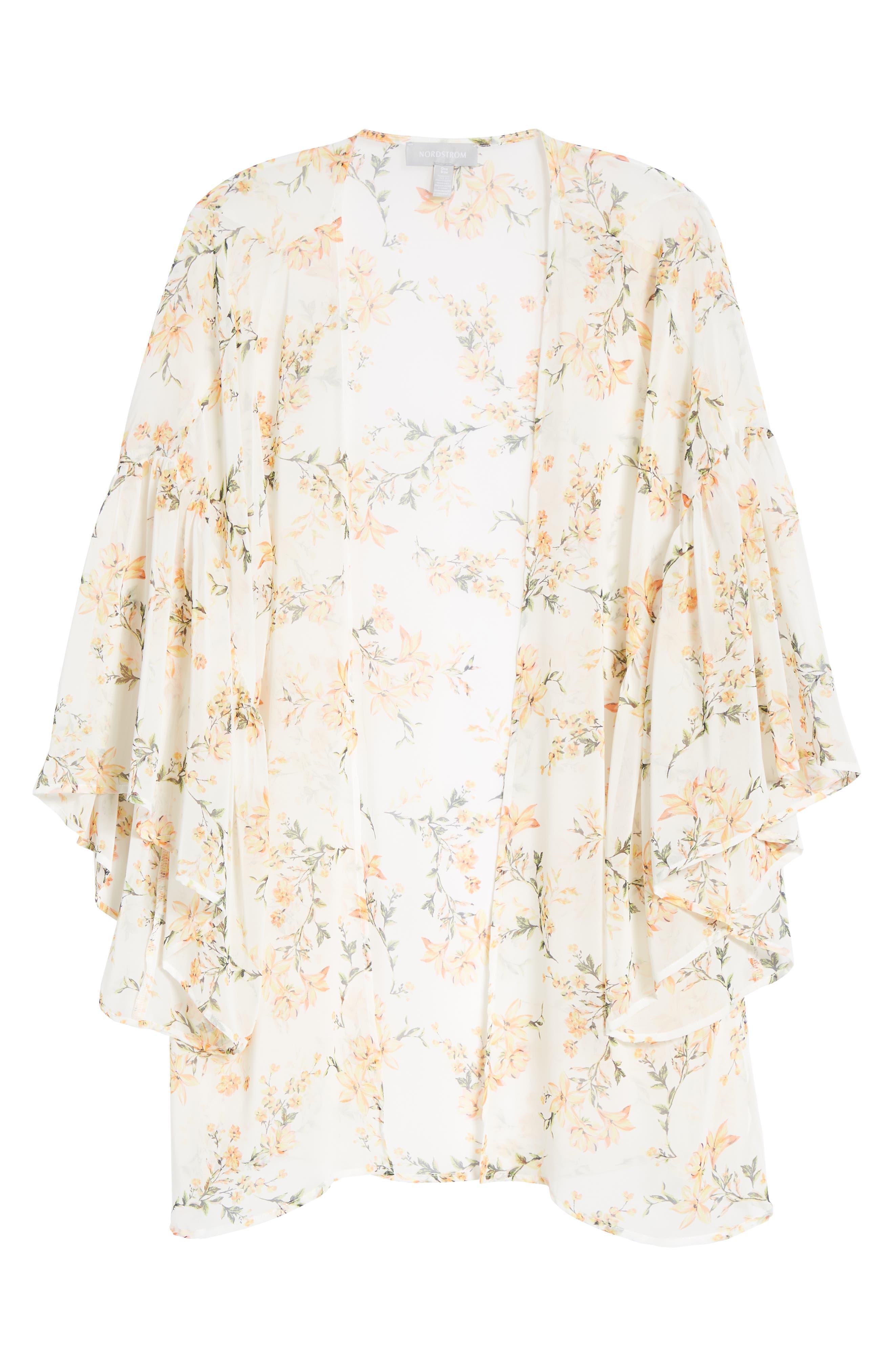 Floral Print Ruffle Sleeve Kimono,                             Alternate thumbnail 6, color,                             700
