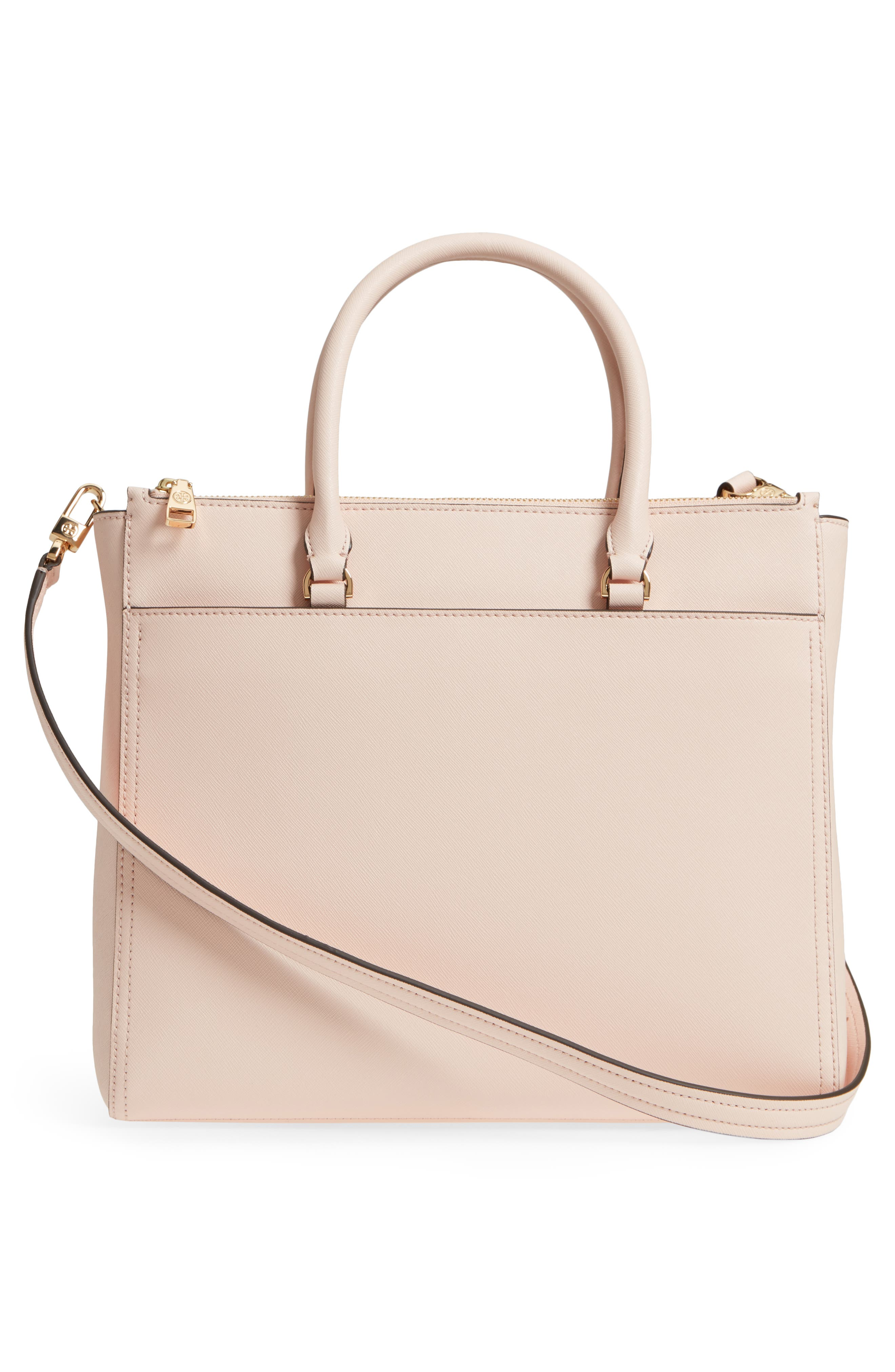 Robinson Double-Zip Leather Tote,                             Alternate thumbnail 3, color,                             PALE APRICOT / ROYAL NAVY