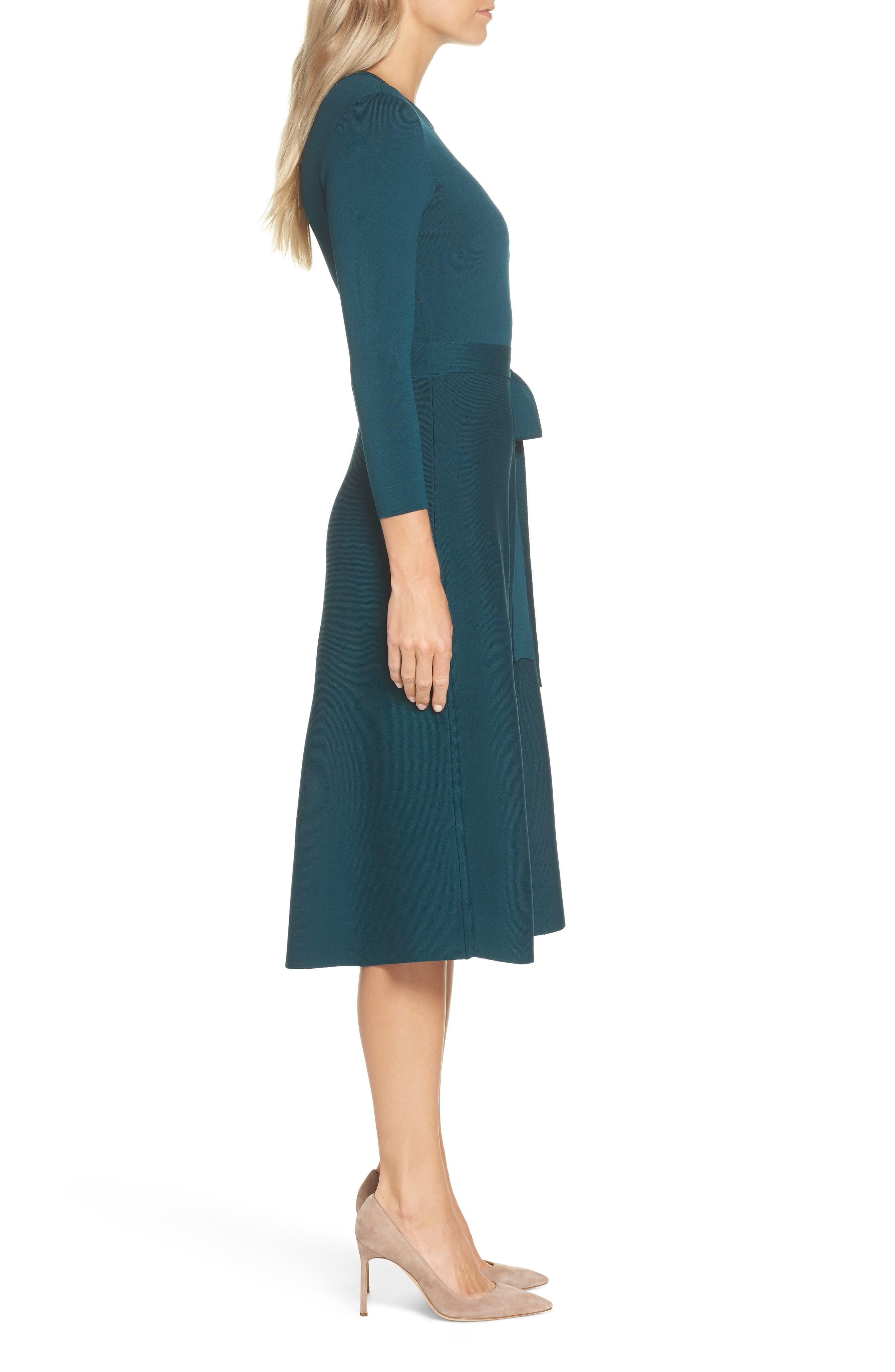 Fit & Flare Sweater Dress,                             Alternate thumbnail 3, color,                             SPRUCE