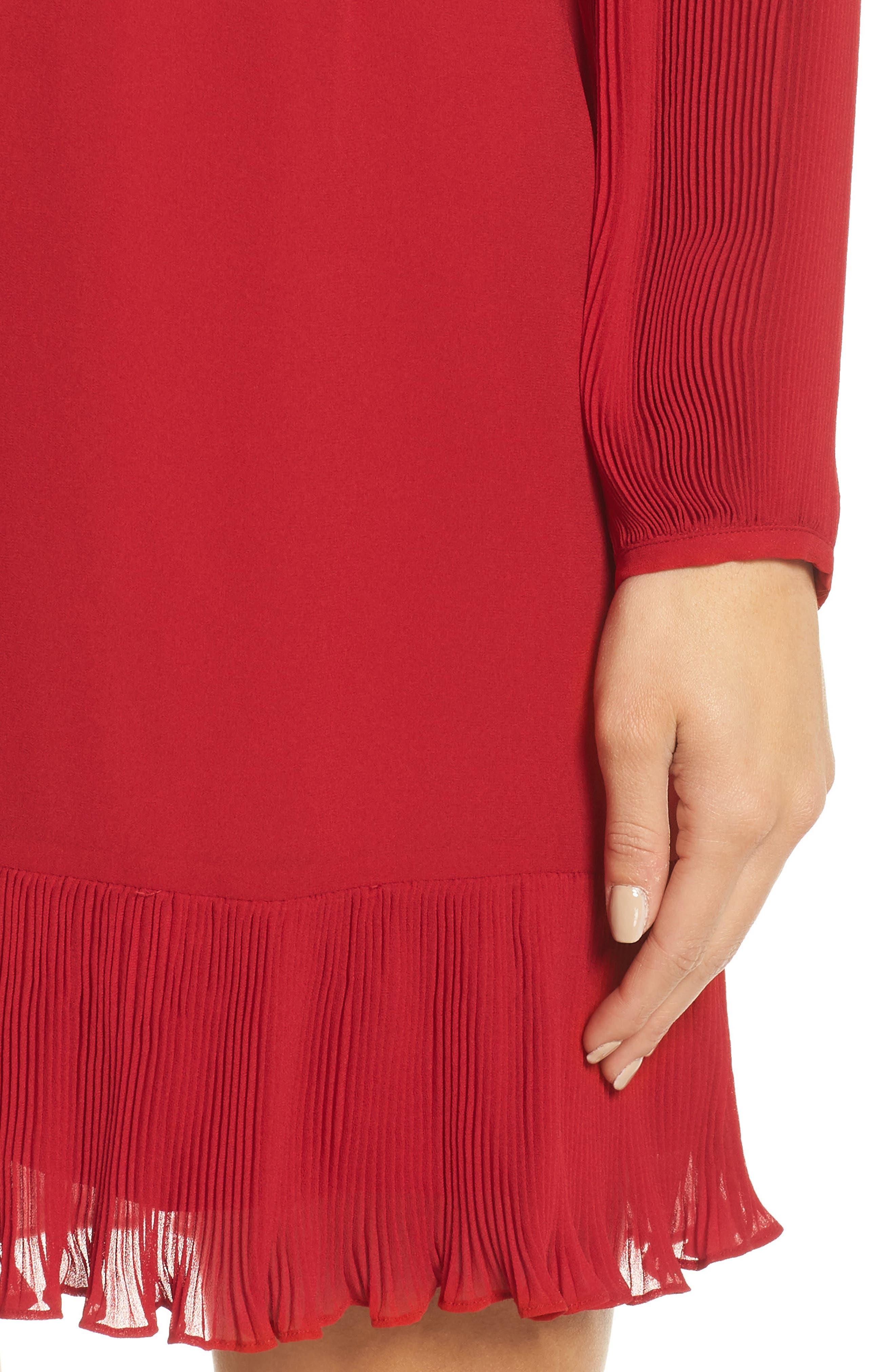 Pleat Sleeve & Ruffle Hem Dress,                             Alternate thumbnail 4, color,                             RED JESTER