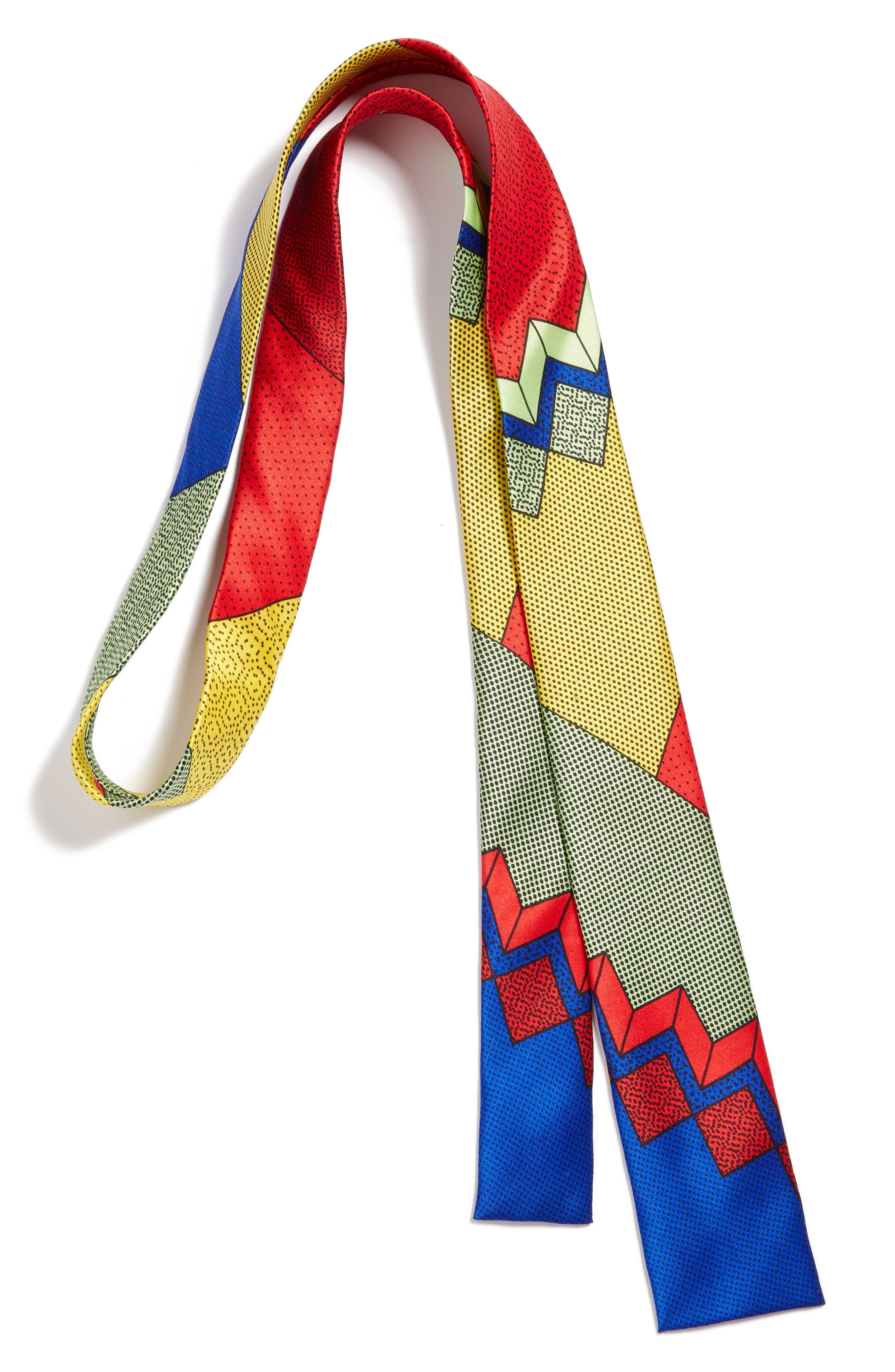 MEMPHIS Milano Red/Blue Print Silk Tie,                         Main,                         color, RED/ BLUE