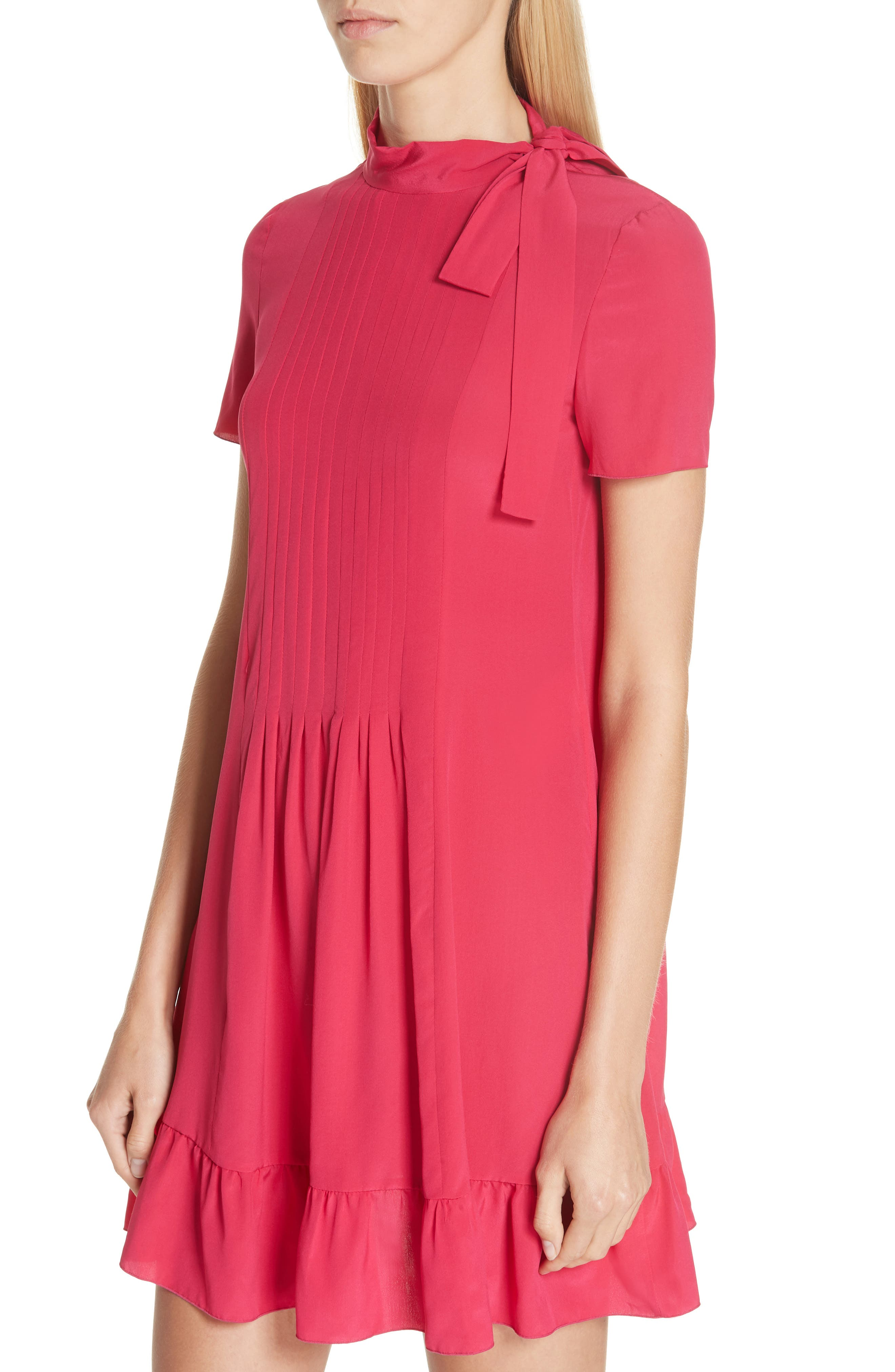 RED VALENTINO,                             Tie Neck Pleated Silk Dress,                             Alternate thumbnail 4, color,                             600