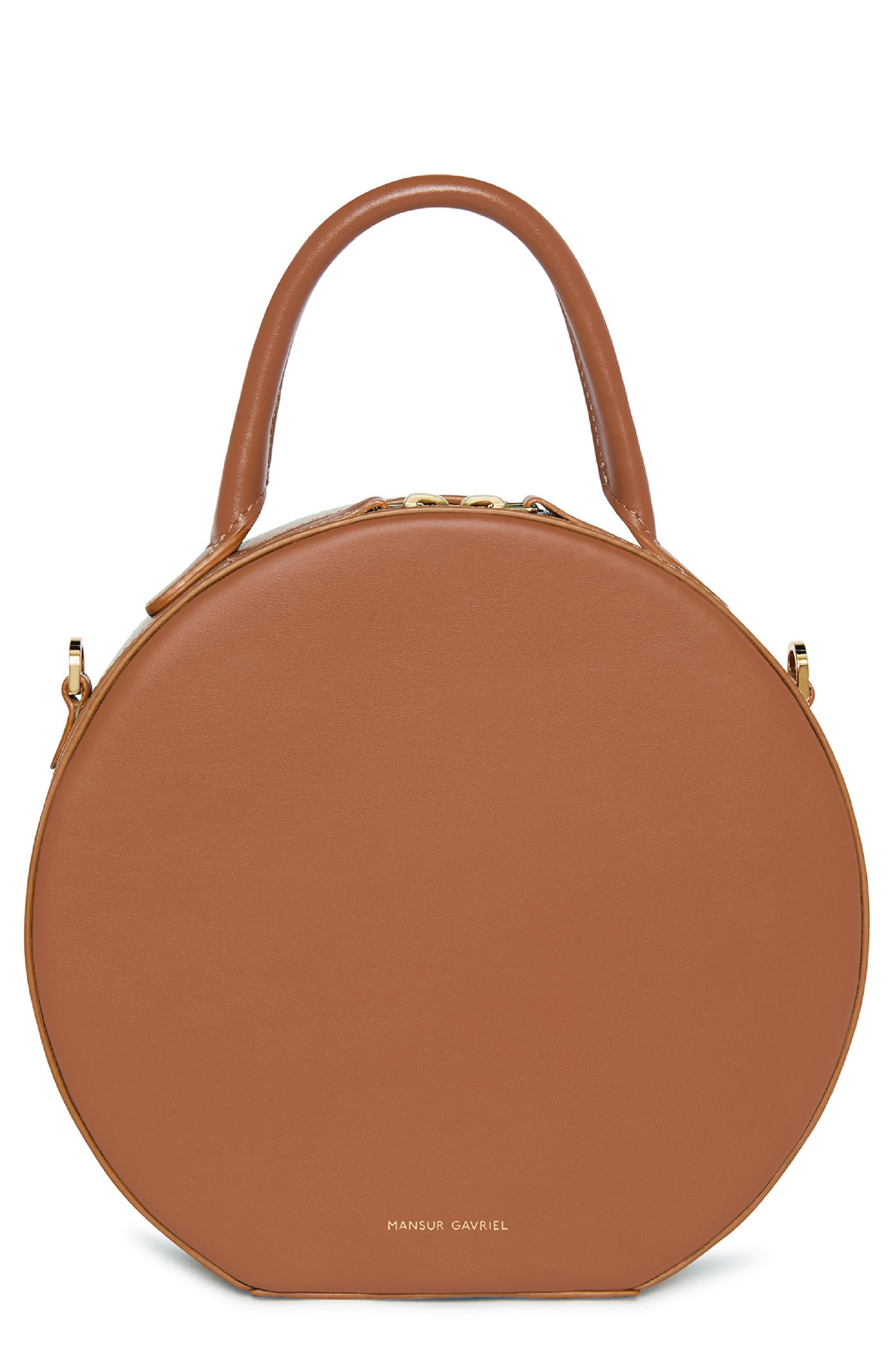 Leather Circle Crossbody Bag,                             Main thumbnail 1, color,                             SADDLE