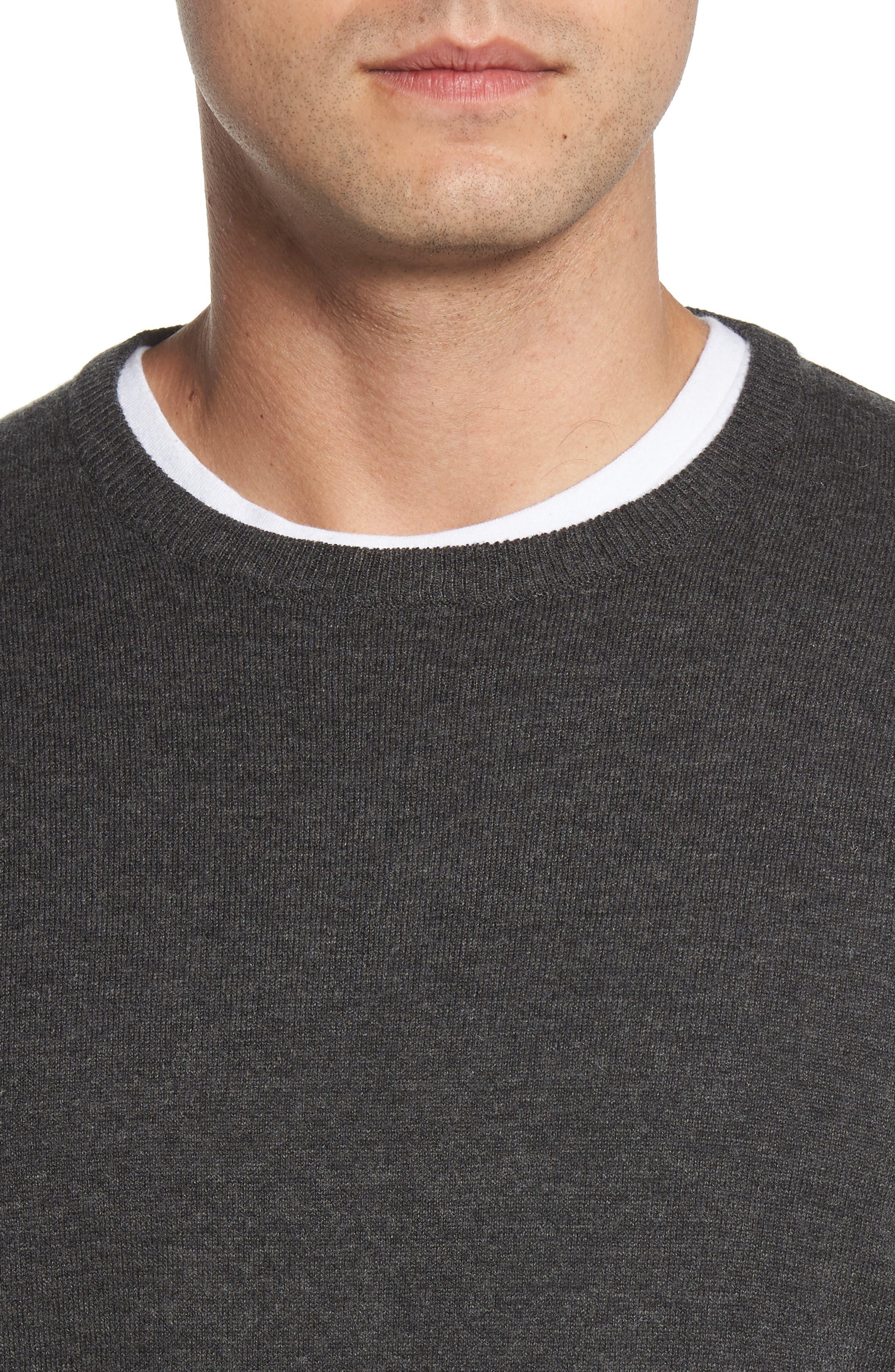Wool & Cotton Crewneck Sweater,                             Alternate thumbnail 4, color,                             022