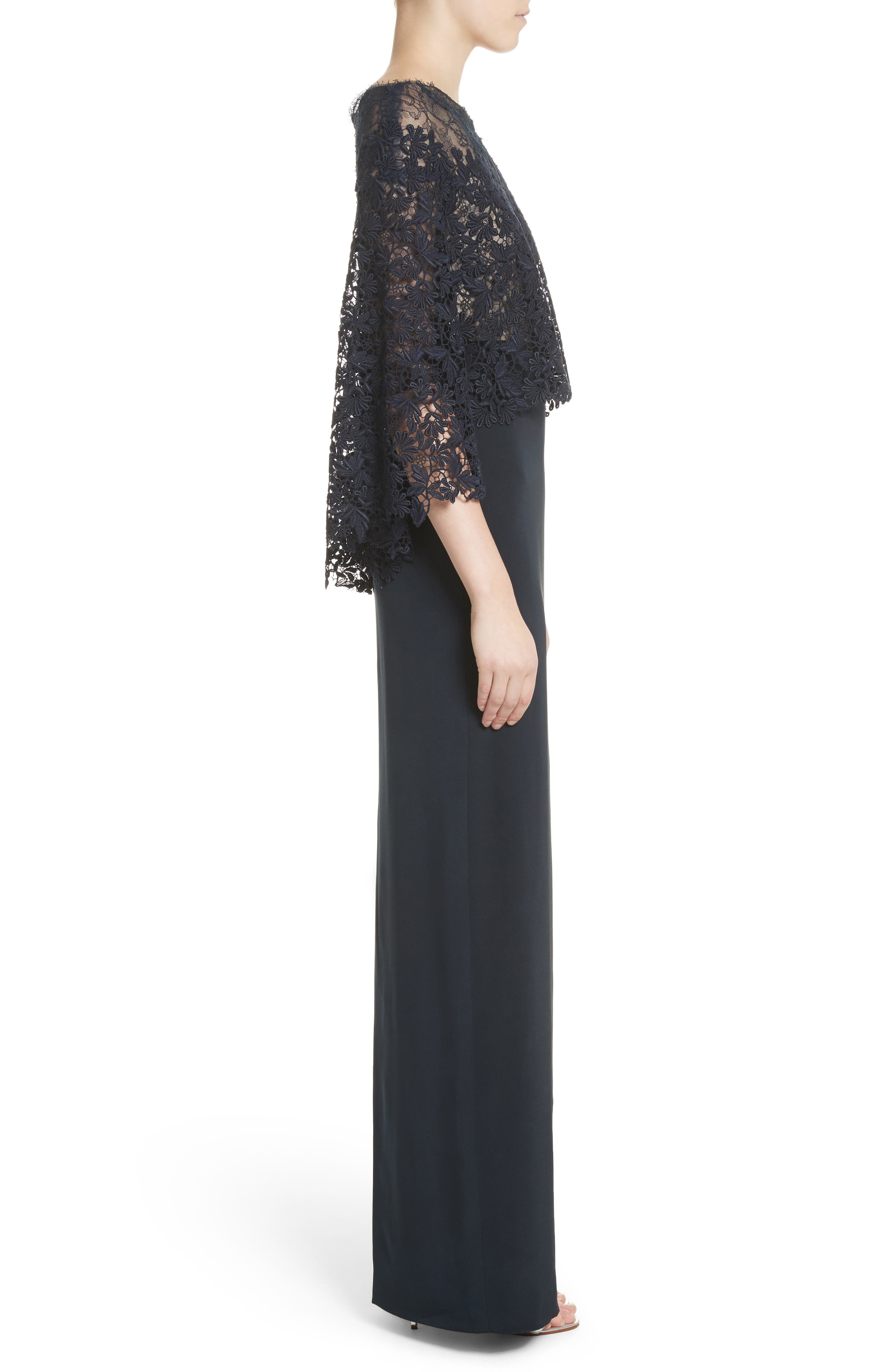 Column Gown with Integrated Lace Capelet,                             Alternate thumbnail 3, color,                             410