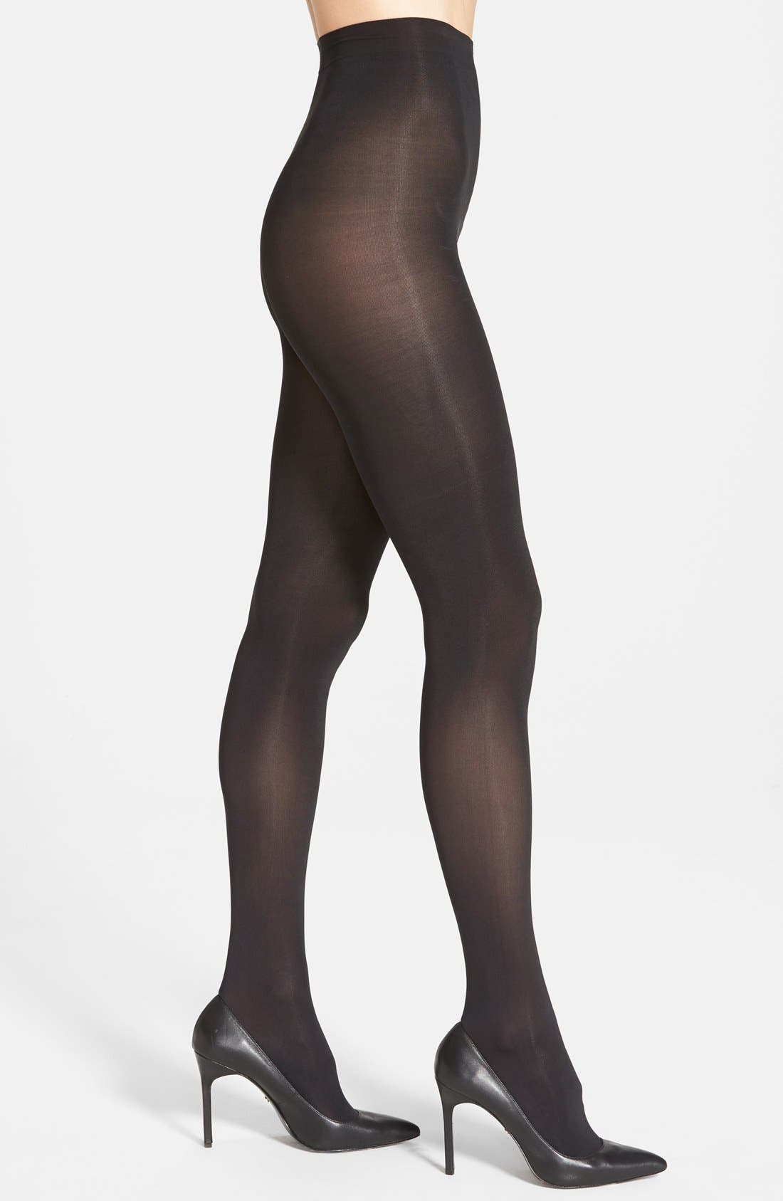 Donna Karan 'Evolution' Satin Jersey Tights,                             Main thumbnail 1, color,                             003