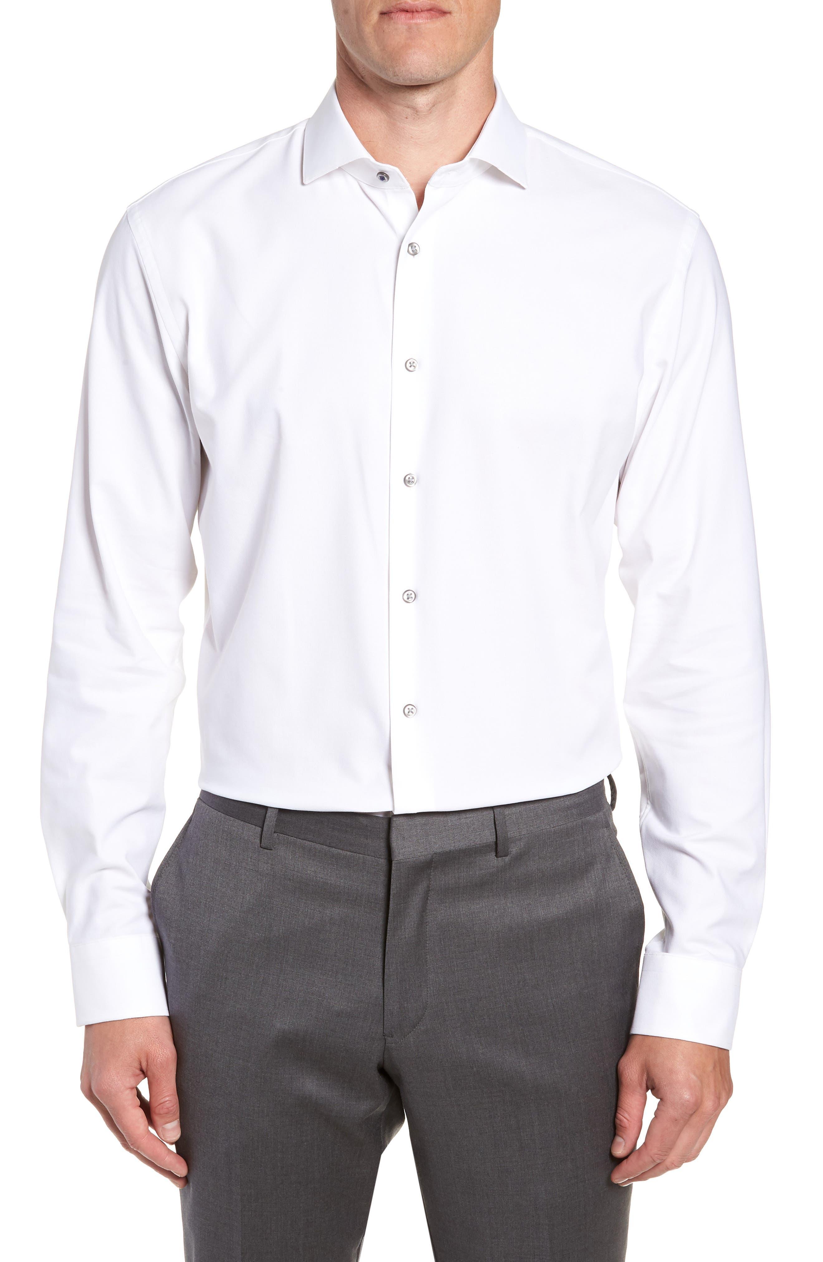 Tech-Smart Trim Fit Stretch Texture Dress Shirt,                         Main,                         color, WHITE