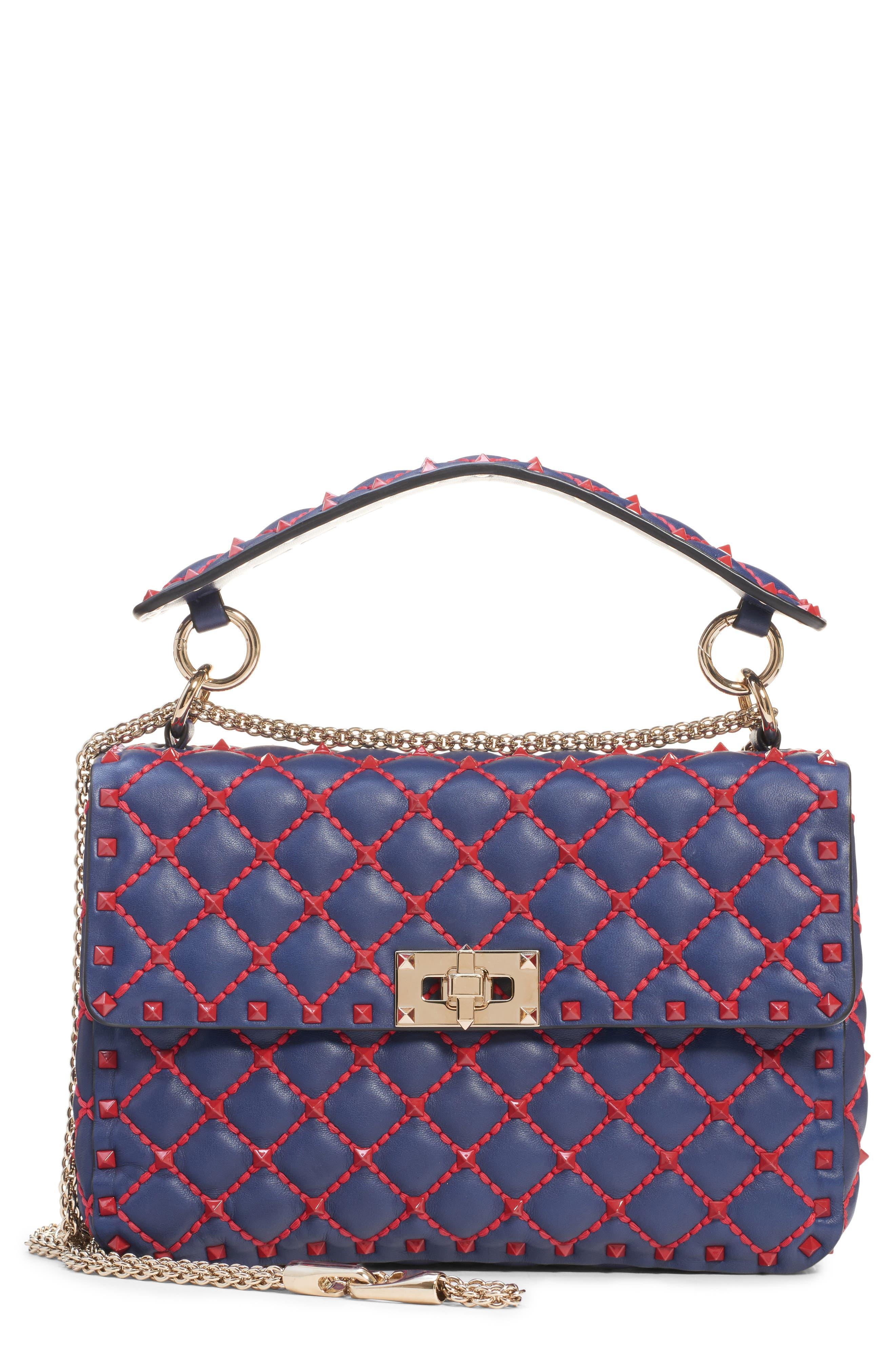 Medium Spike.It Leather Shoulder Bag,                             Main thumbnail 1, color,                             PURE BLUE/ ROSSO