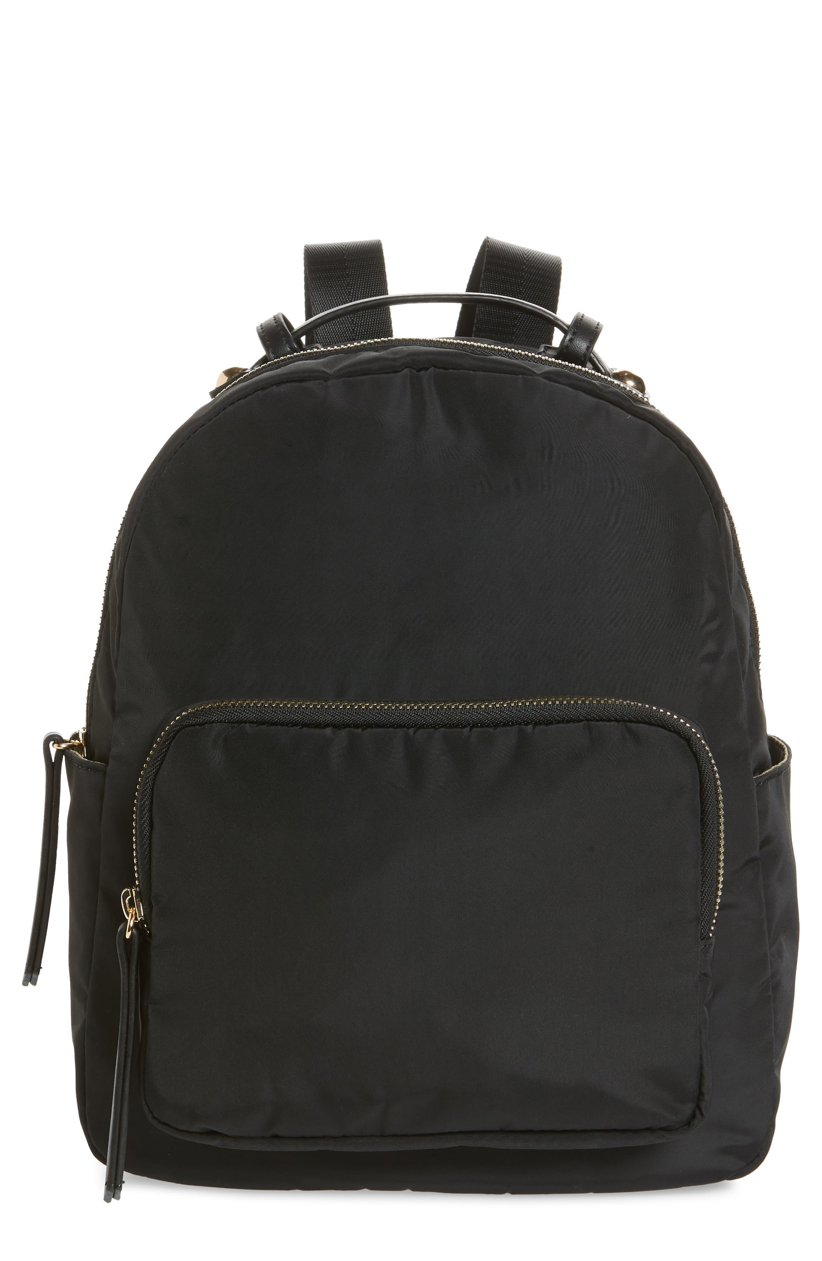 SONDRA ROBERTS Nylon Backpack, Main, color, 001