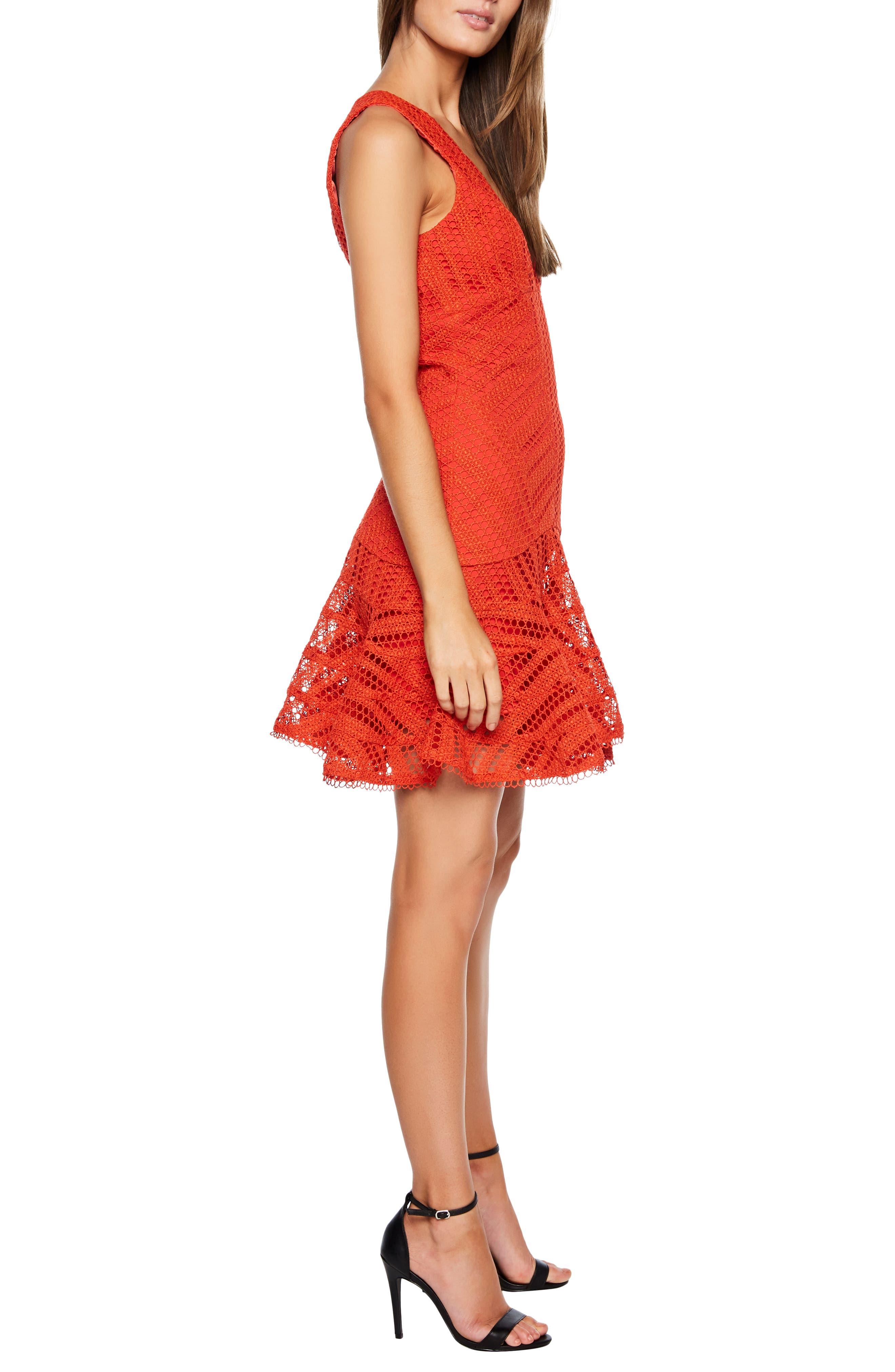 BARDOT,                             Fiesta Lace Cocktail Dress,                             Alternate thumbnail 3, color,                             FIESTA ORANGE
