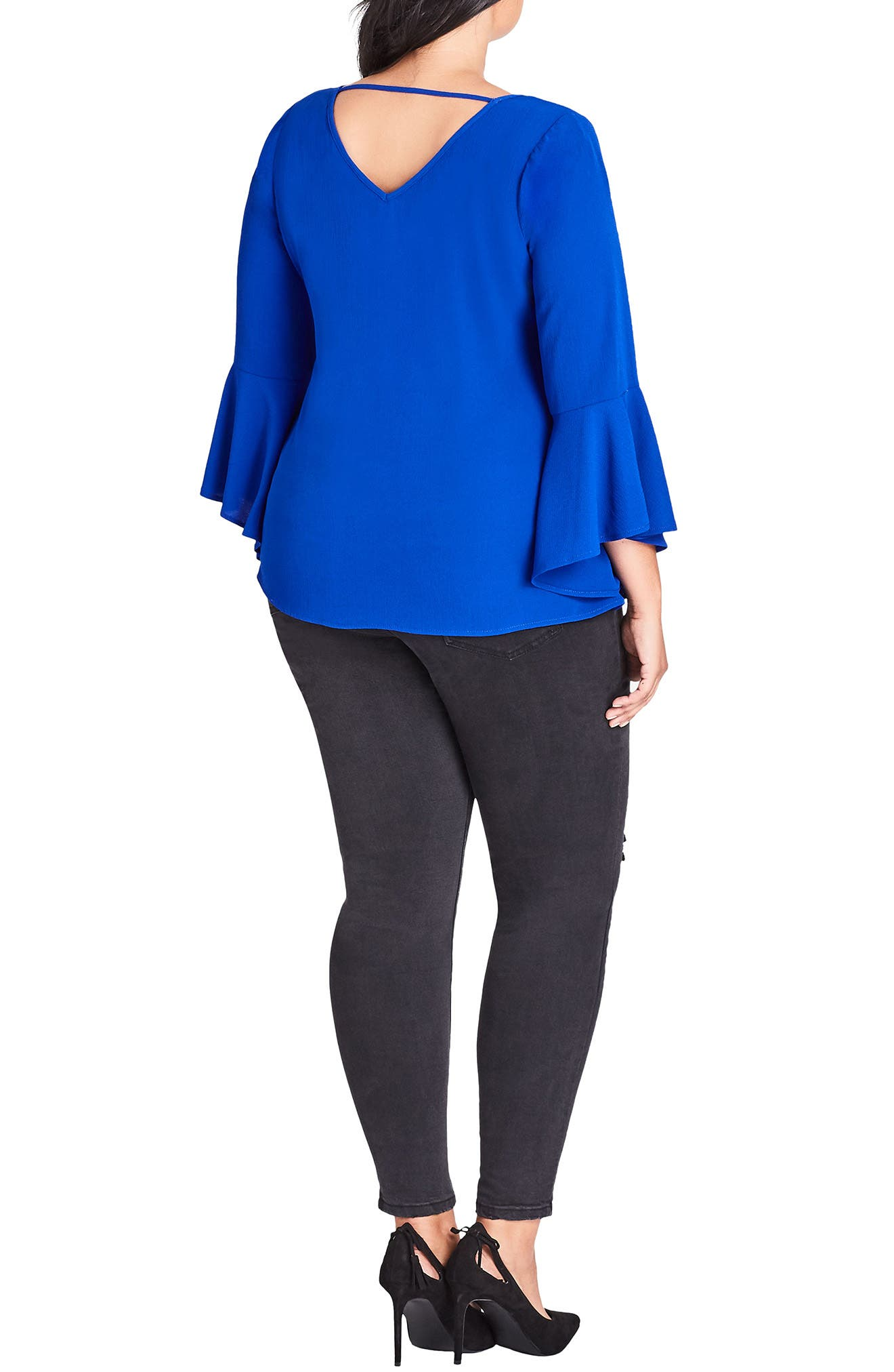 Bell Sleeve Top,                             Alternate thumbnail 2, color,                             ULTRA BLUE