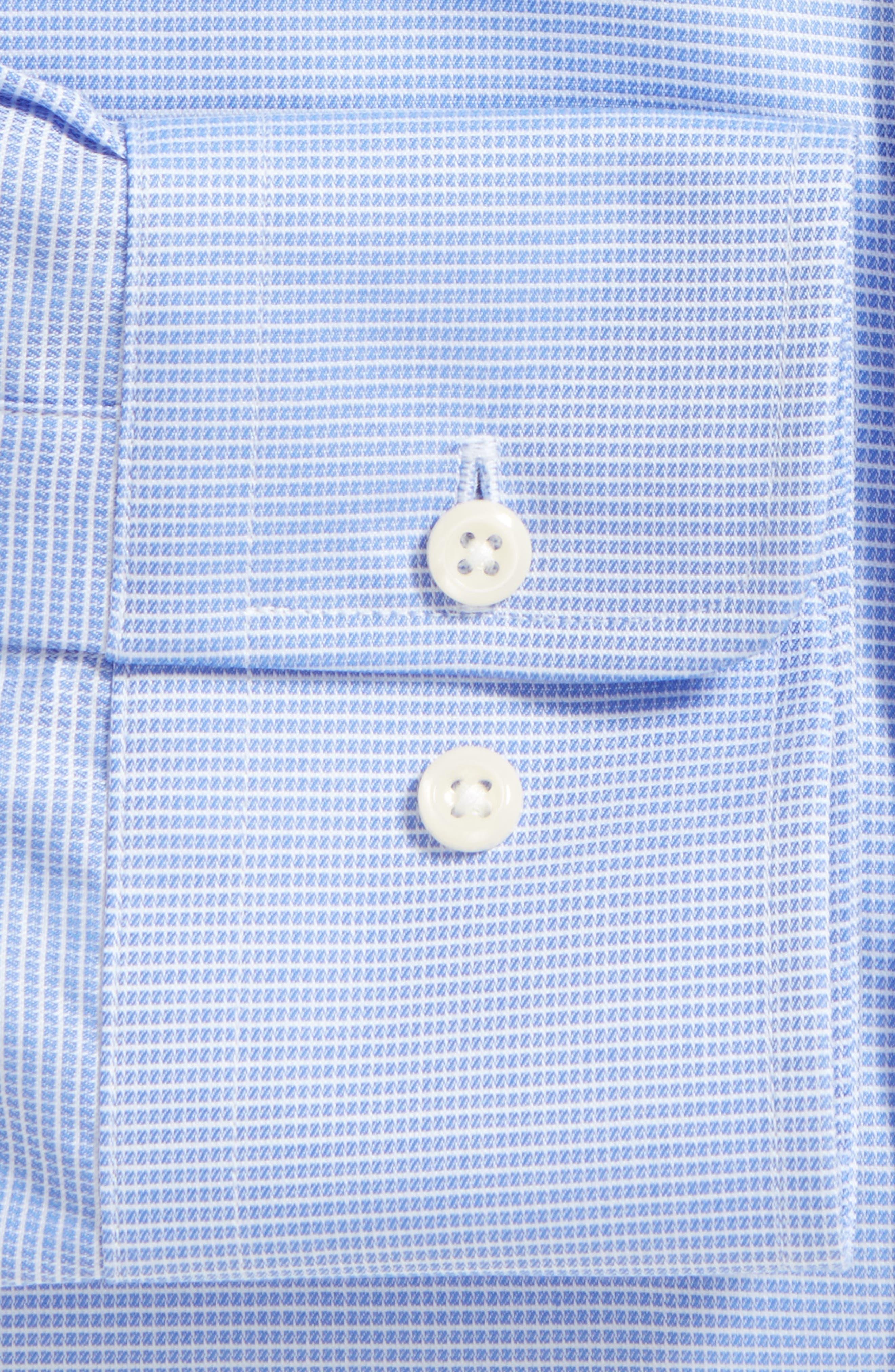 Trim Fit Microcheck Dress Shirt,                             Alternate thumbnail 4, color,                             BLUE