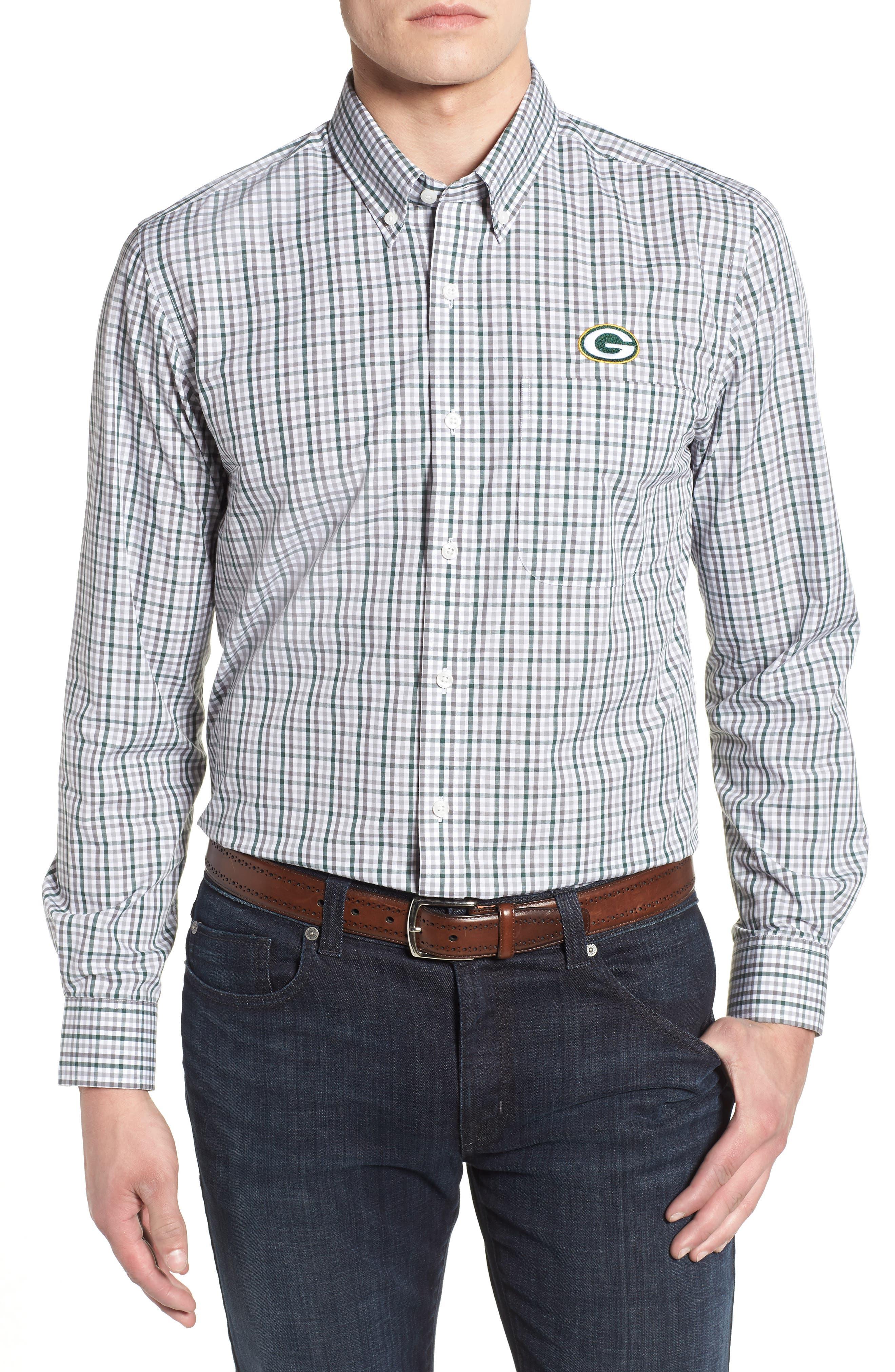 Green Bay Packers - Gilman Regular Fit Plaid Sport Shirt,                             Main thumbnail 1, color,                             HUNTER