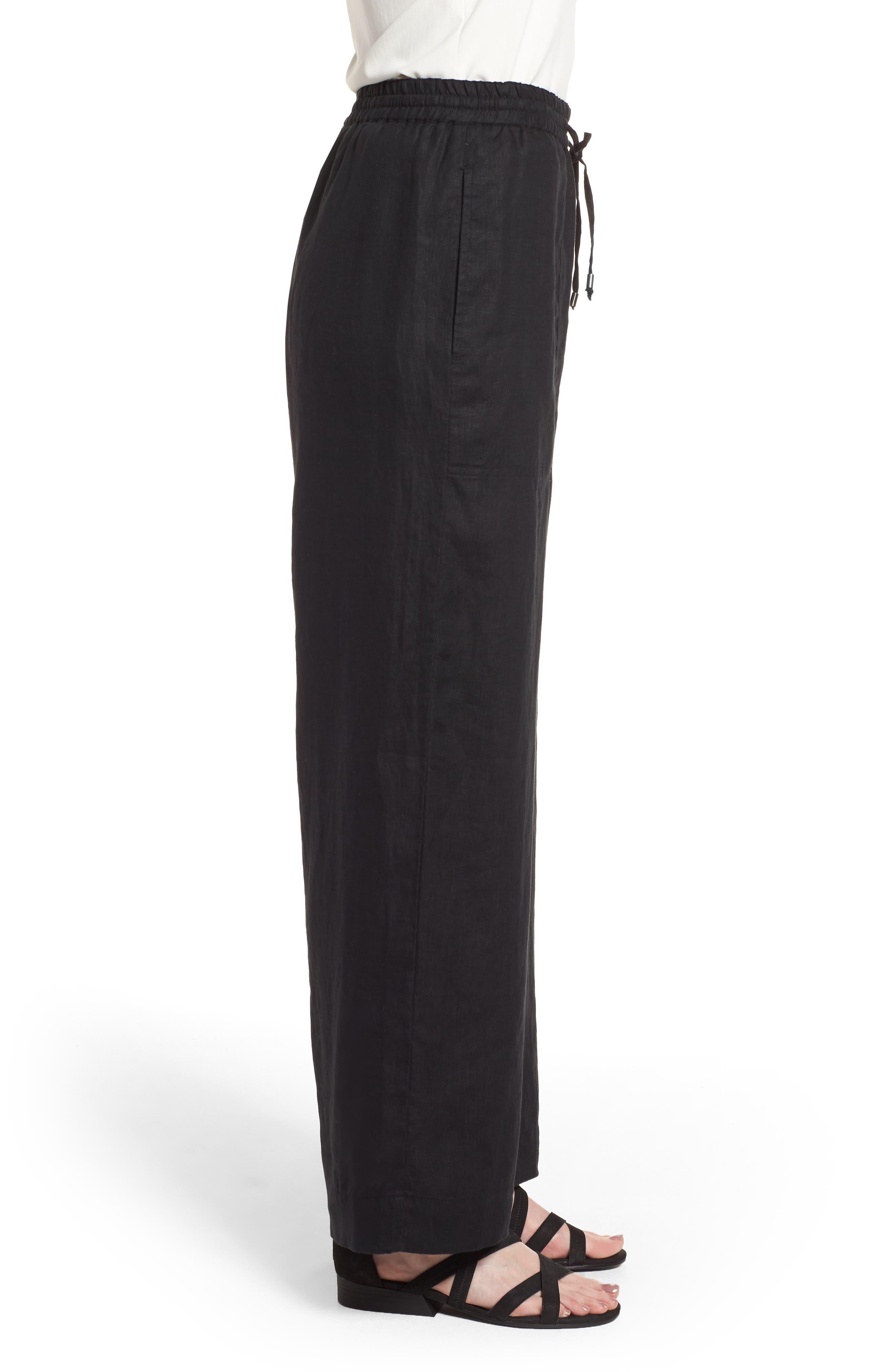 Wide Leg Organic Linen Pants,                             Alternate thumbnail 3, color,                             001