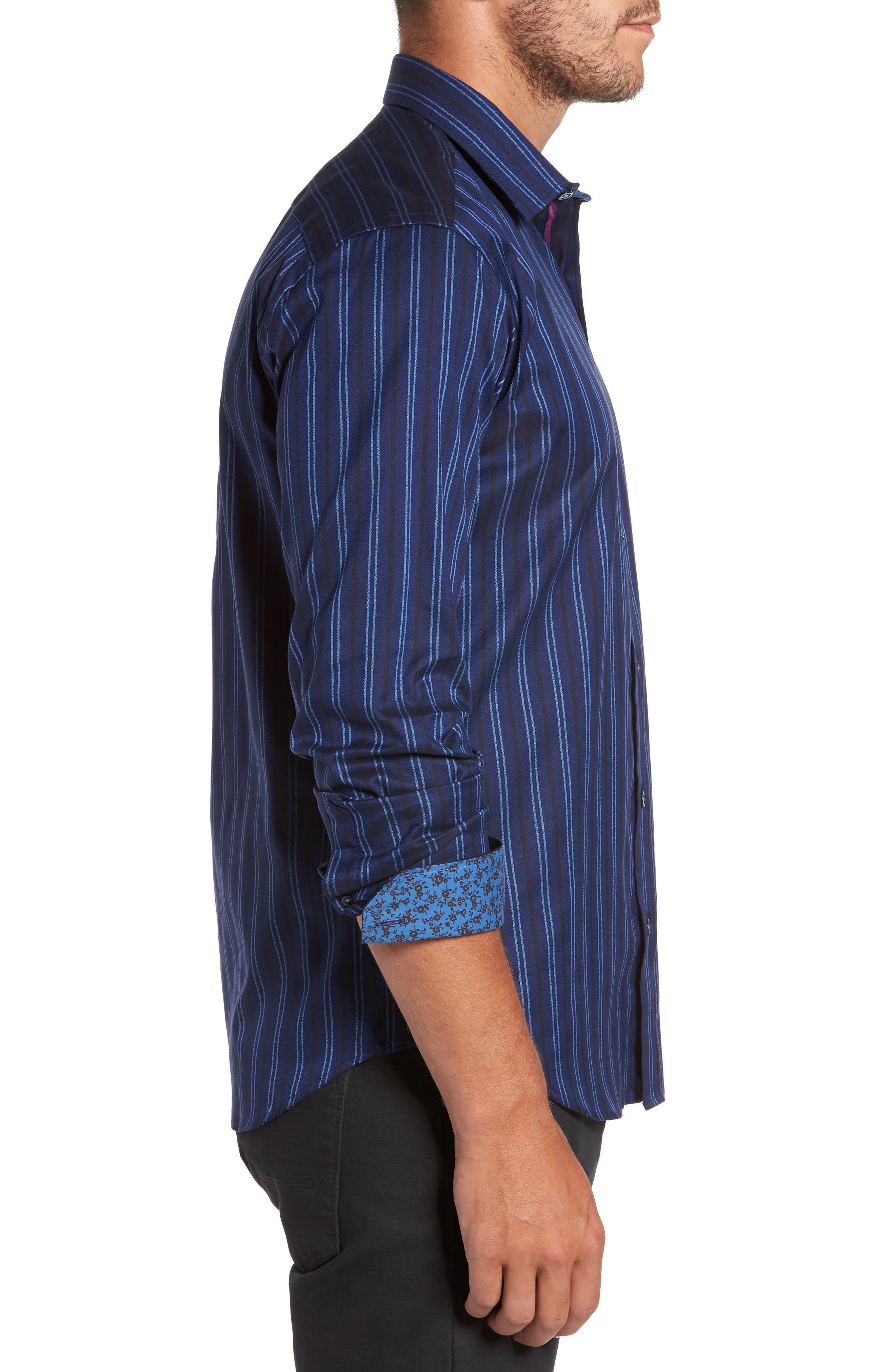 Shaped Fit Stripe Sport Shirt,                             Alternate thumbnail 3, color,                             410