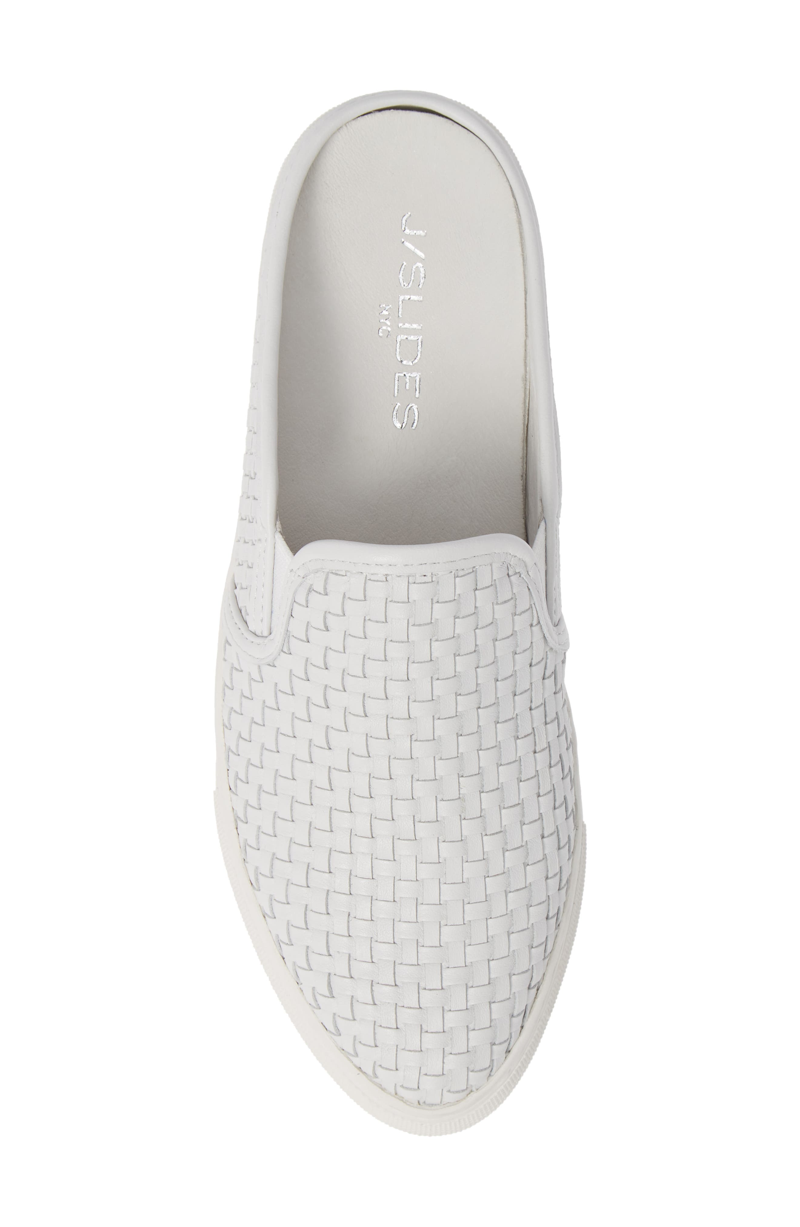 Fiona Woven Mule,                             Alternate thumbnail 5, color,                             WHITE LEATHER