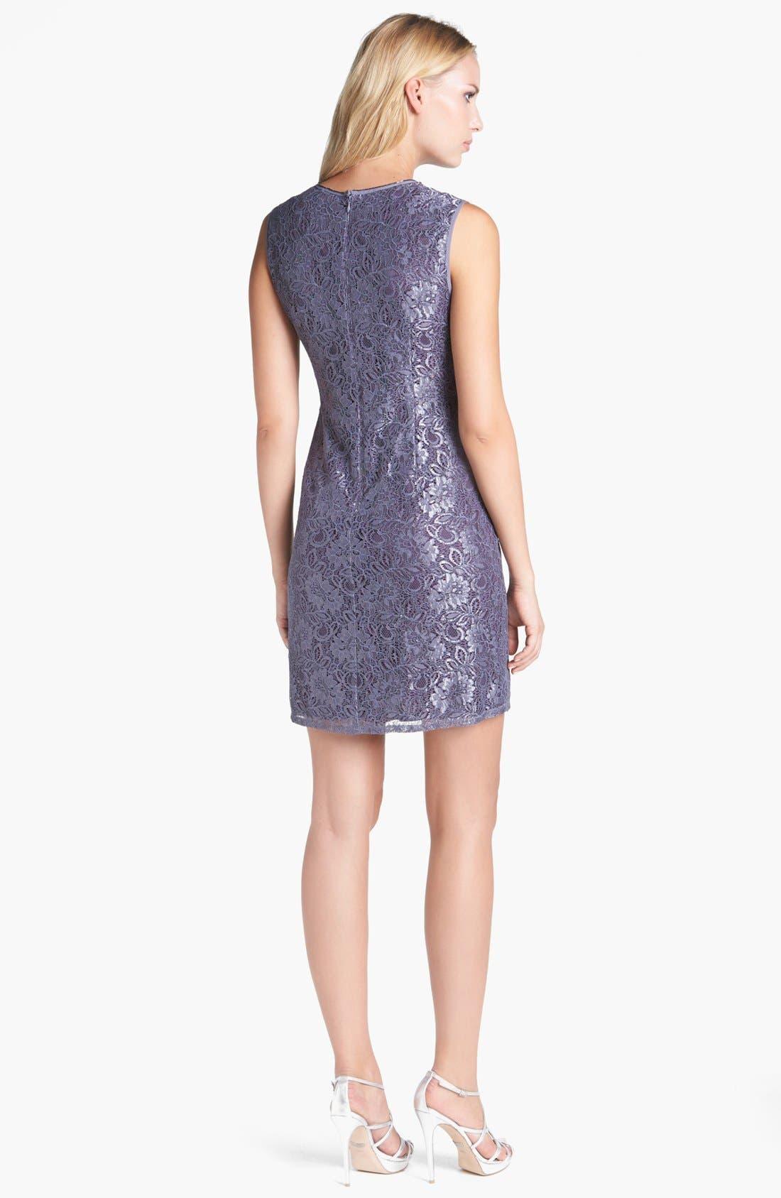 Embellished Lace Shift Dress,                             Alternate thumbnail 3, color,                             020
