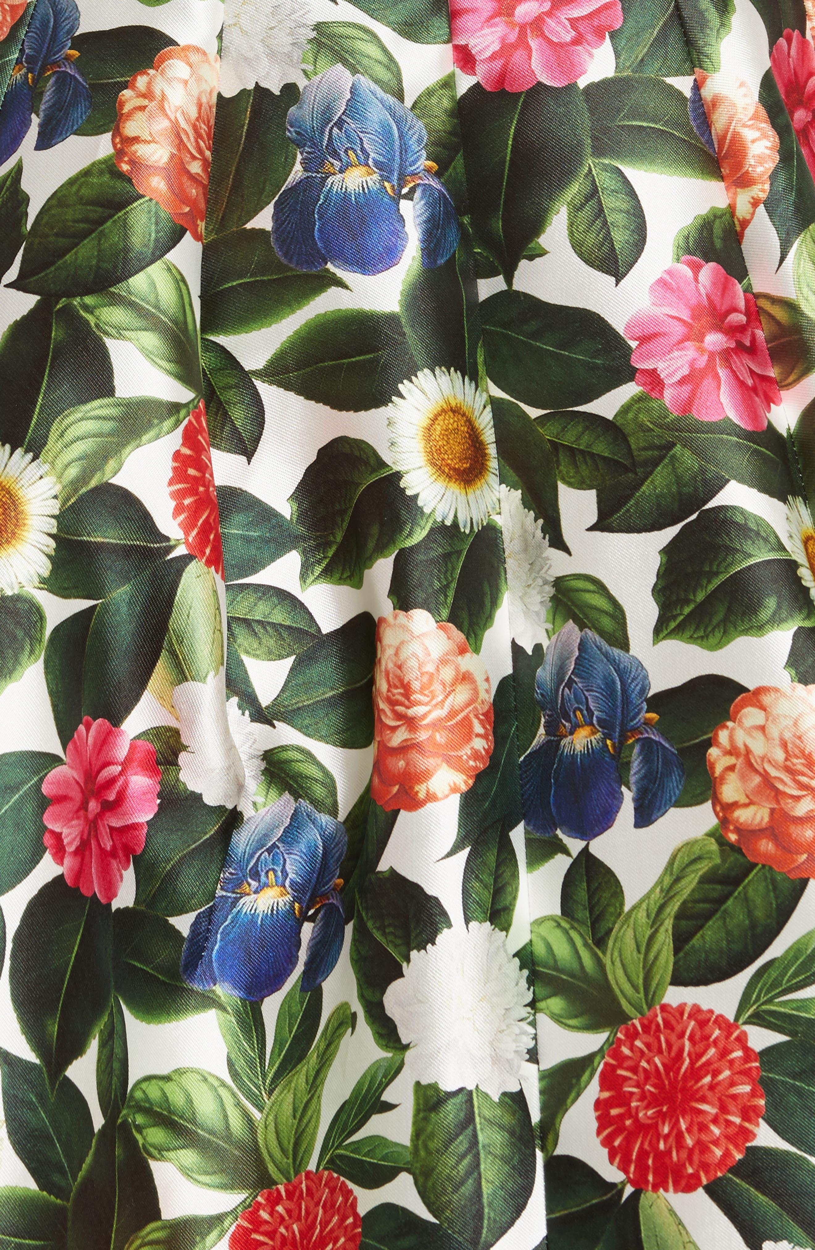 Floral Silk Mikado Fit & Flare Dress,                             Alternate thumbnail 5, color,                             300