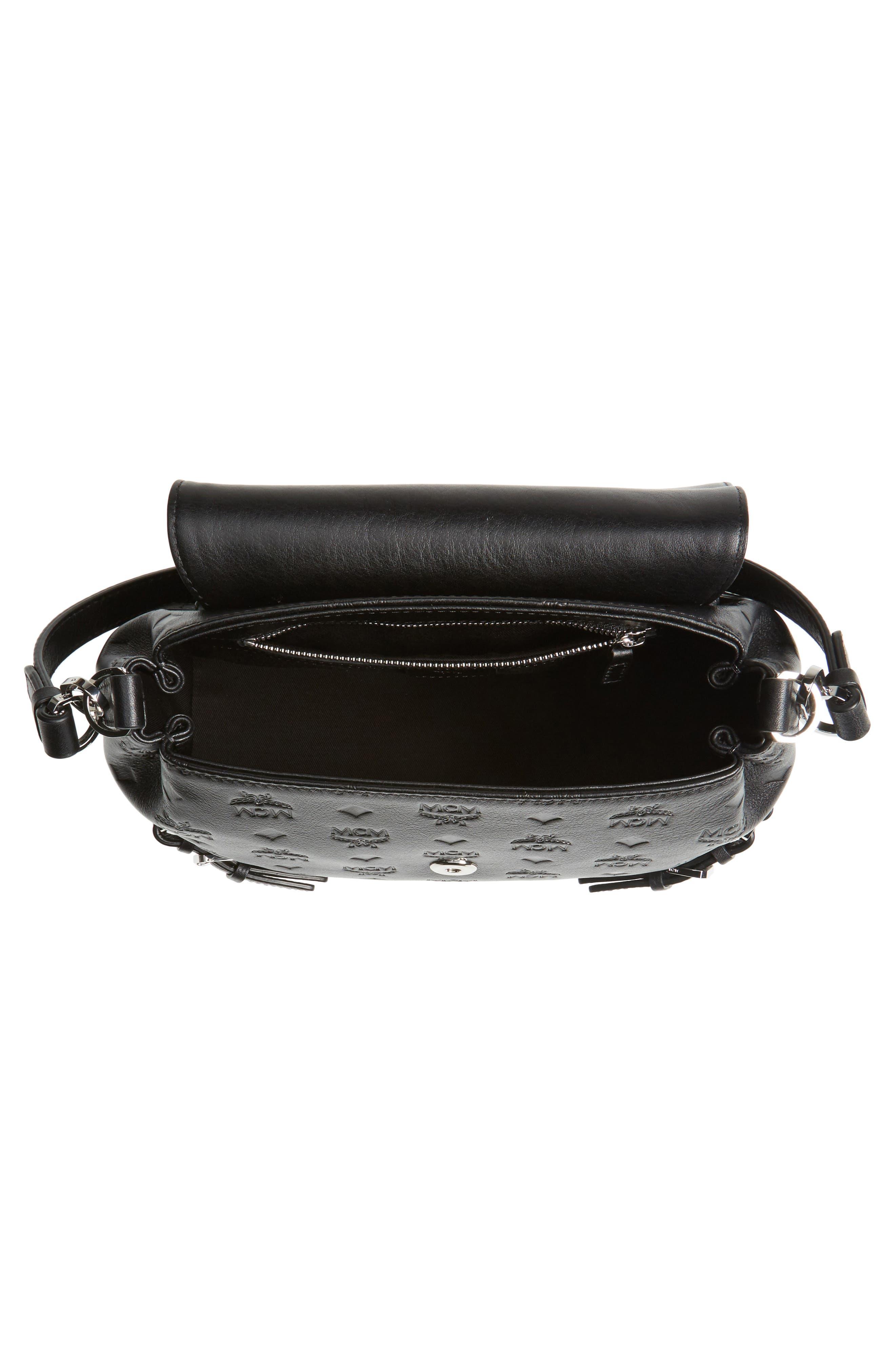 Signature Monogram Embossed Leather Shoulder/Crossbody Bag,                             Alternate thumbnail 4, color,                             001
