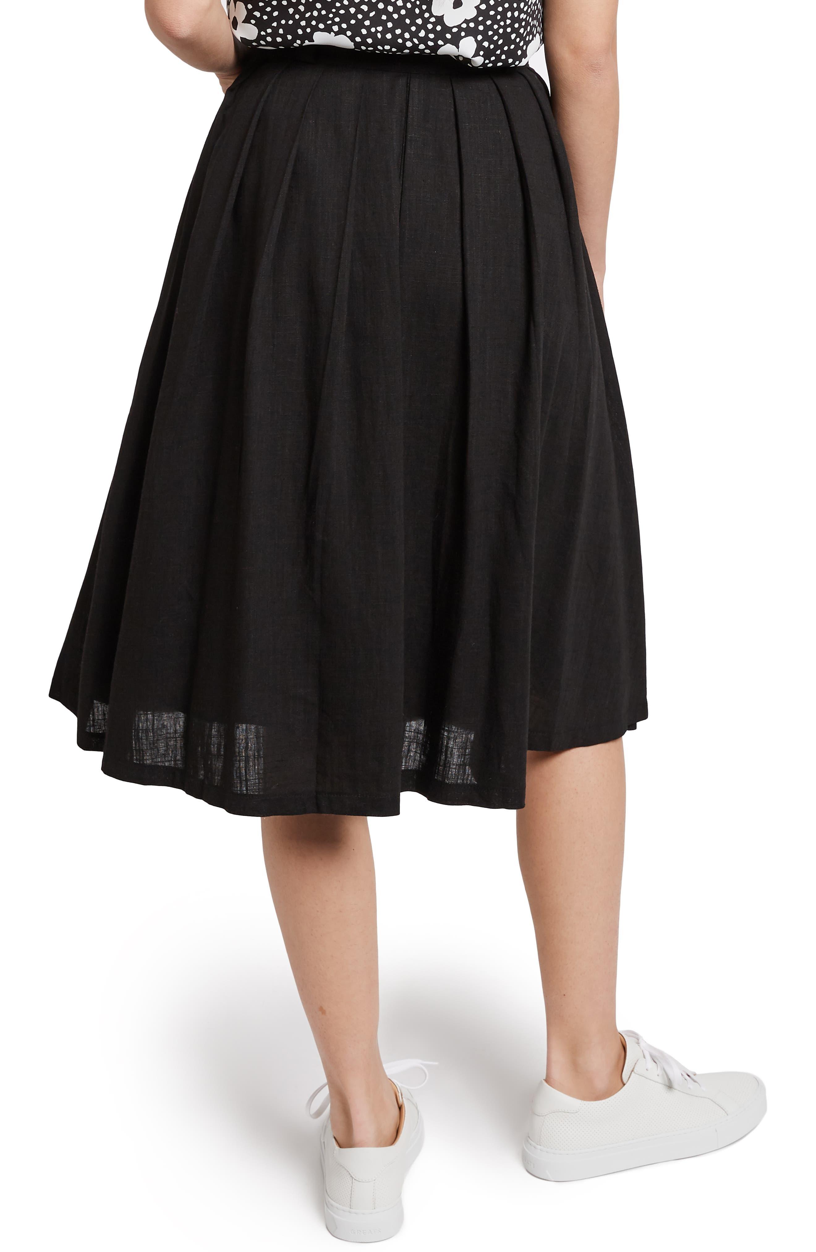 MODCLOTH,                             Pleat Midi Skirt,                             Alternate thumbnail 3, color,                             BLACK