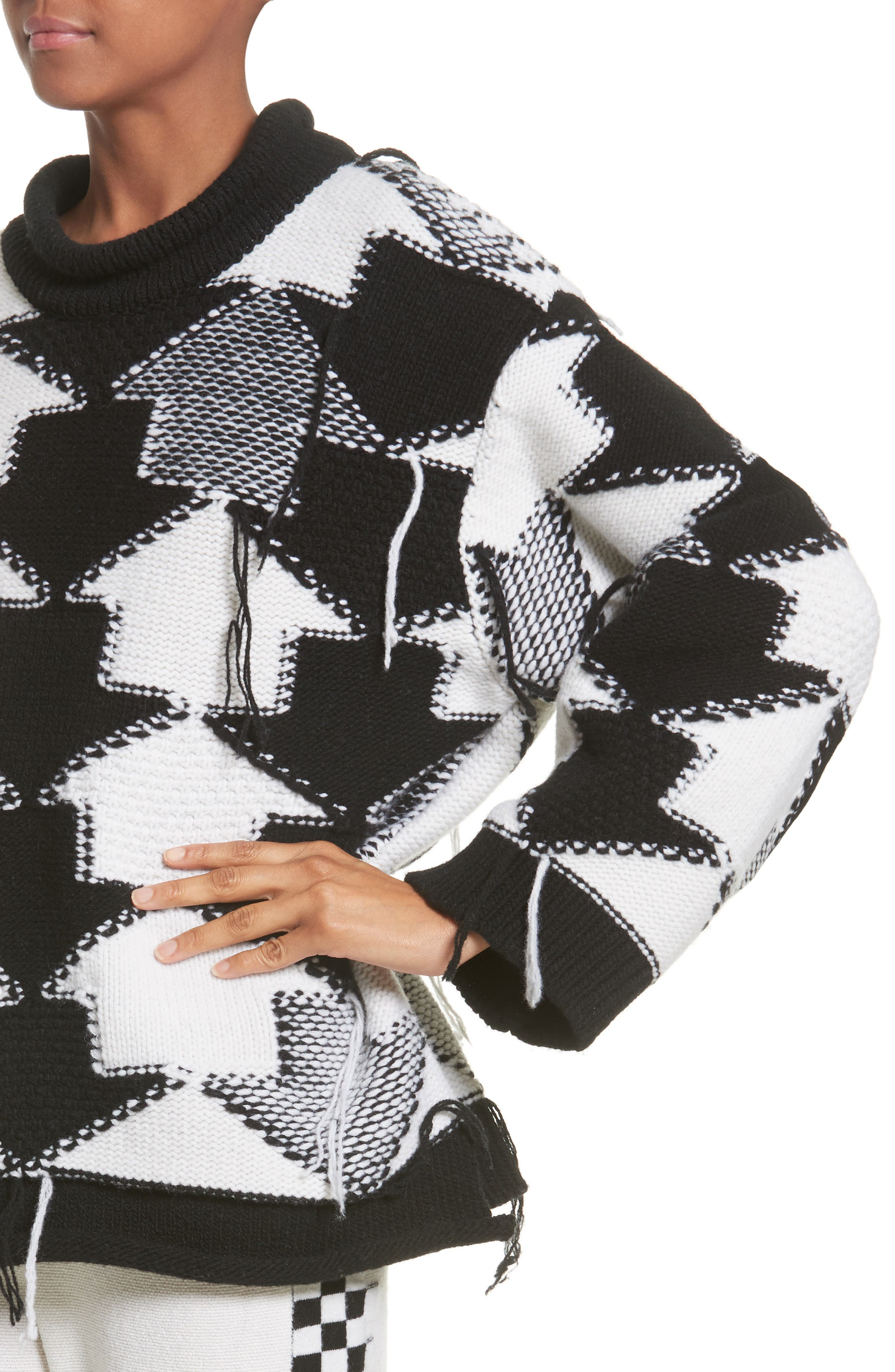 Arrow Intarsia Wool Sweater,                             Alternate thumbnail 4, color,                             001