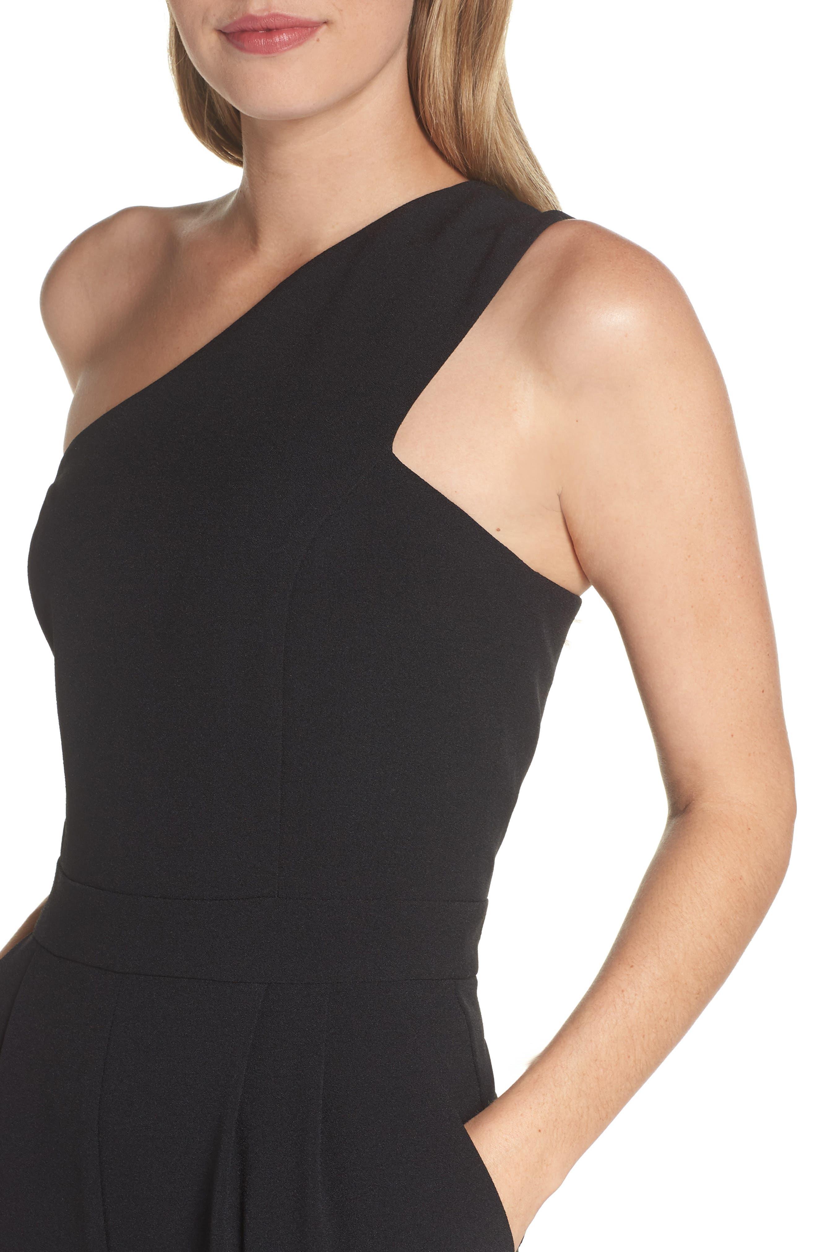 One-Shoulder Jumpsuit,                             Alternate thumbnail 4, color,                             BLACK