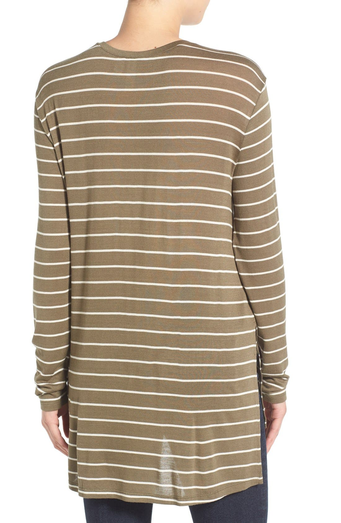 Stripe Long Sleeve Crewneck Tee,                             Alternate thumbnail 4, color,                             315