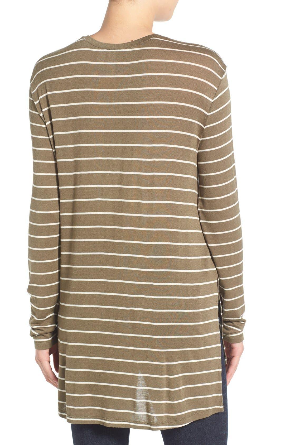 BP.,                             Stripe Long Sleeve Crewneck Tee,                             Alternate thumbnail 4, color,                             315