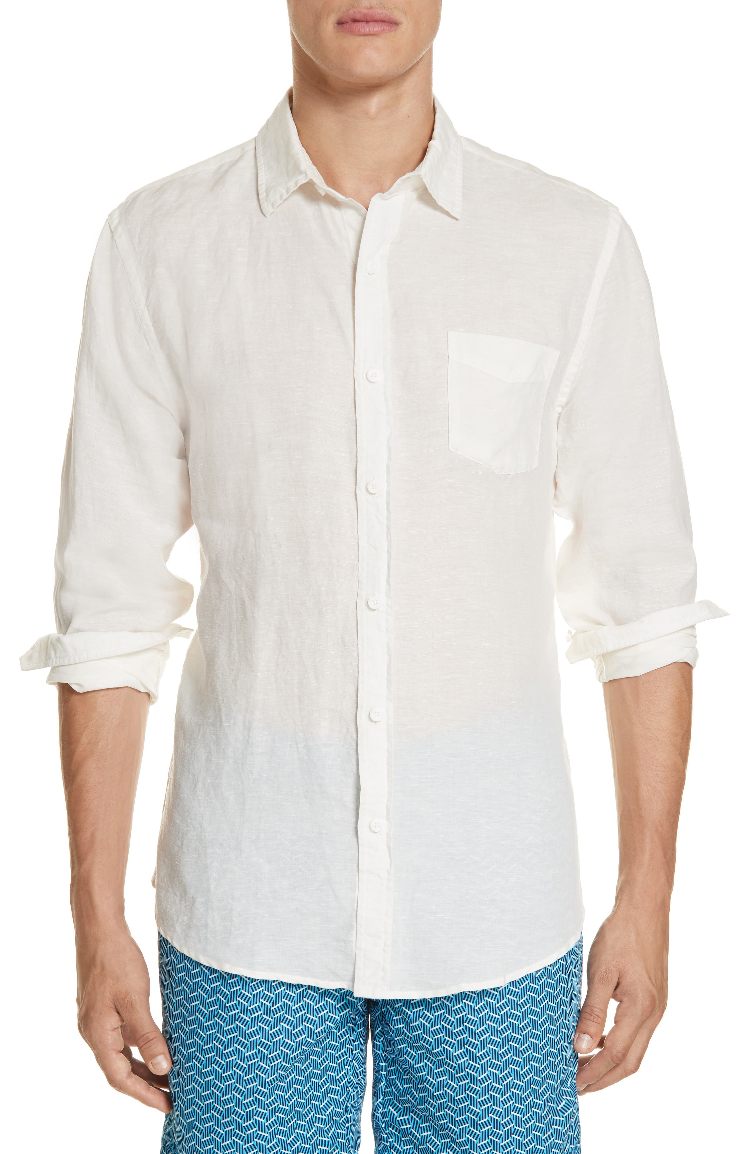 Abe Linen Blend Shirt,                         Main,                         color, WHITE