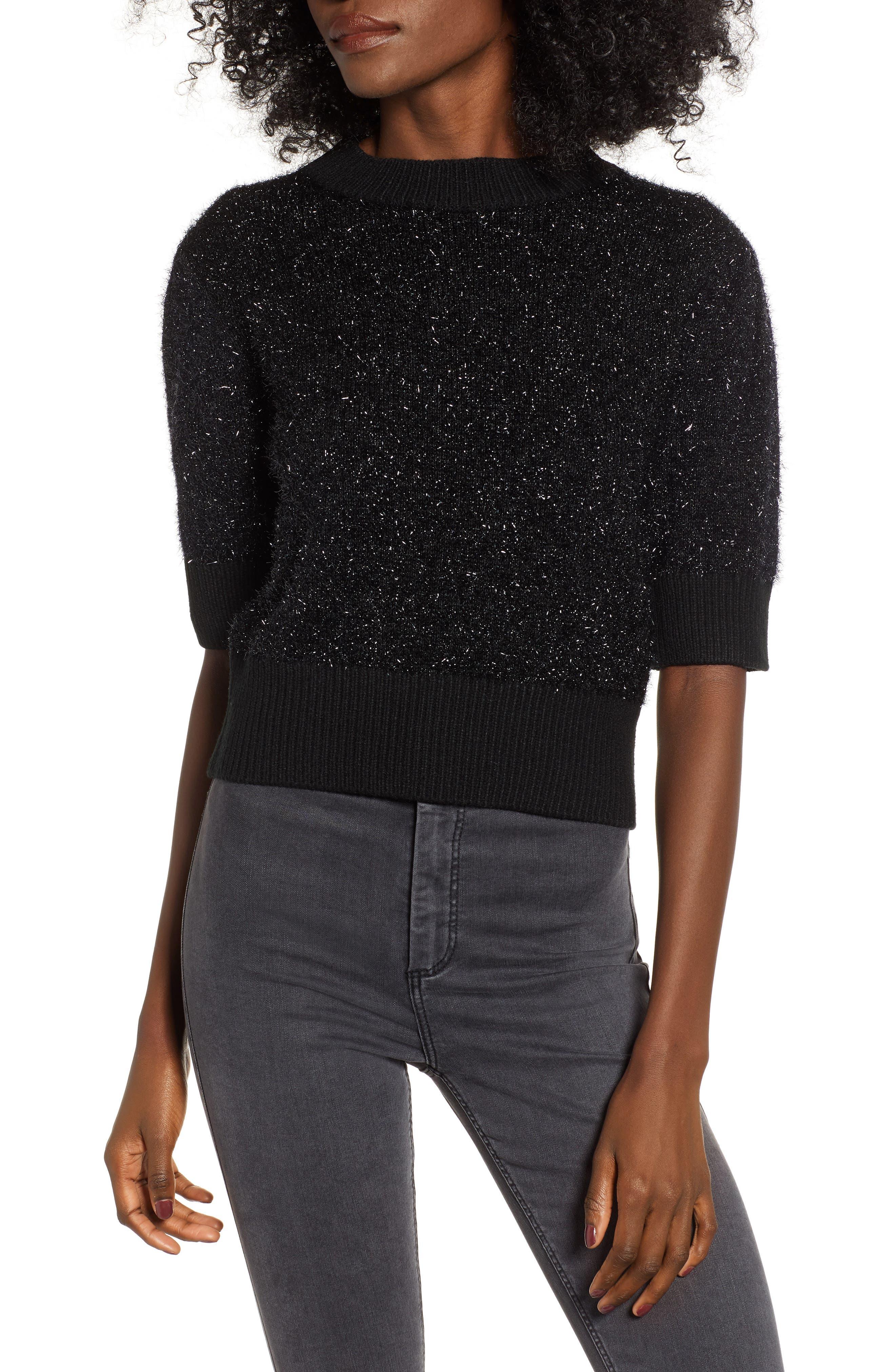 Sparkle Crop Sweater,                             Main thumbnail 1, color,                             001