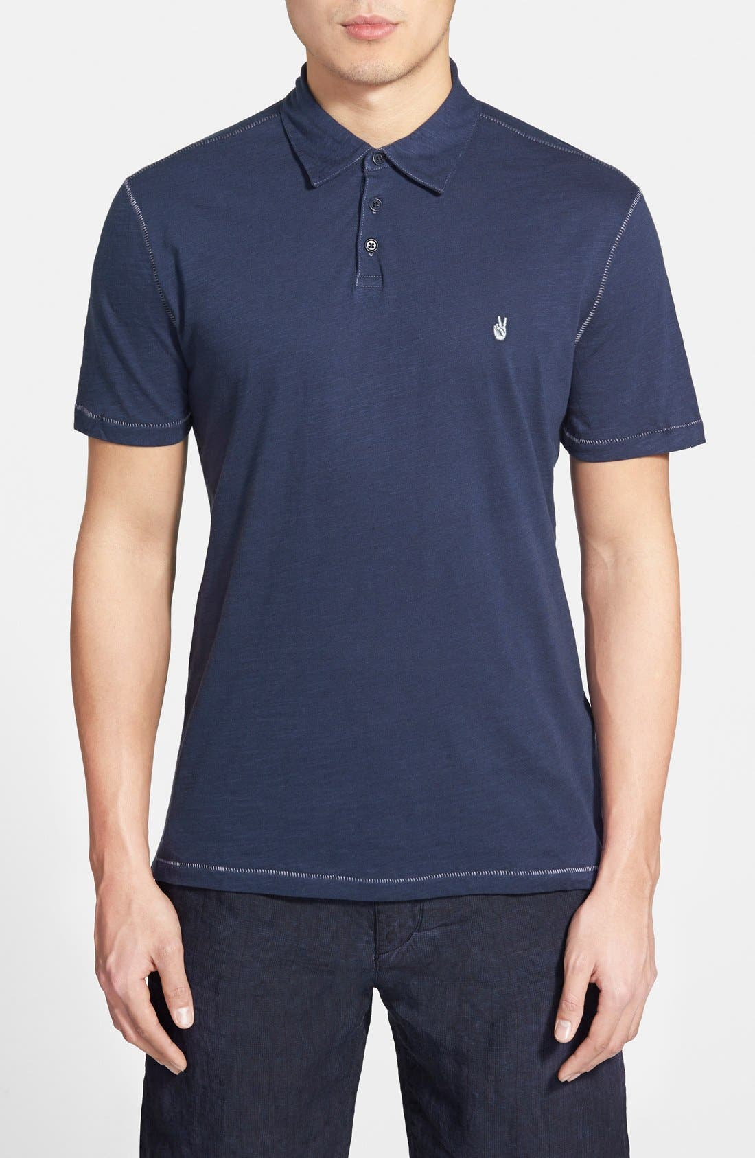 Slim Fit Polo,                         Main,                         color, OILED BLUE