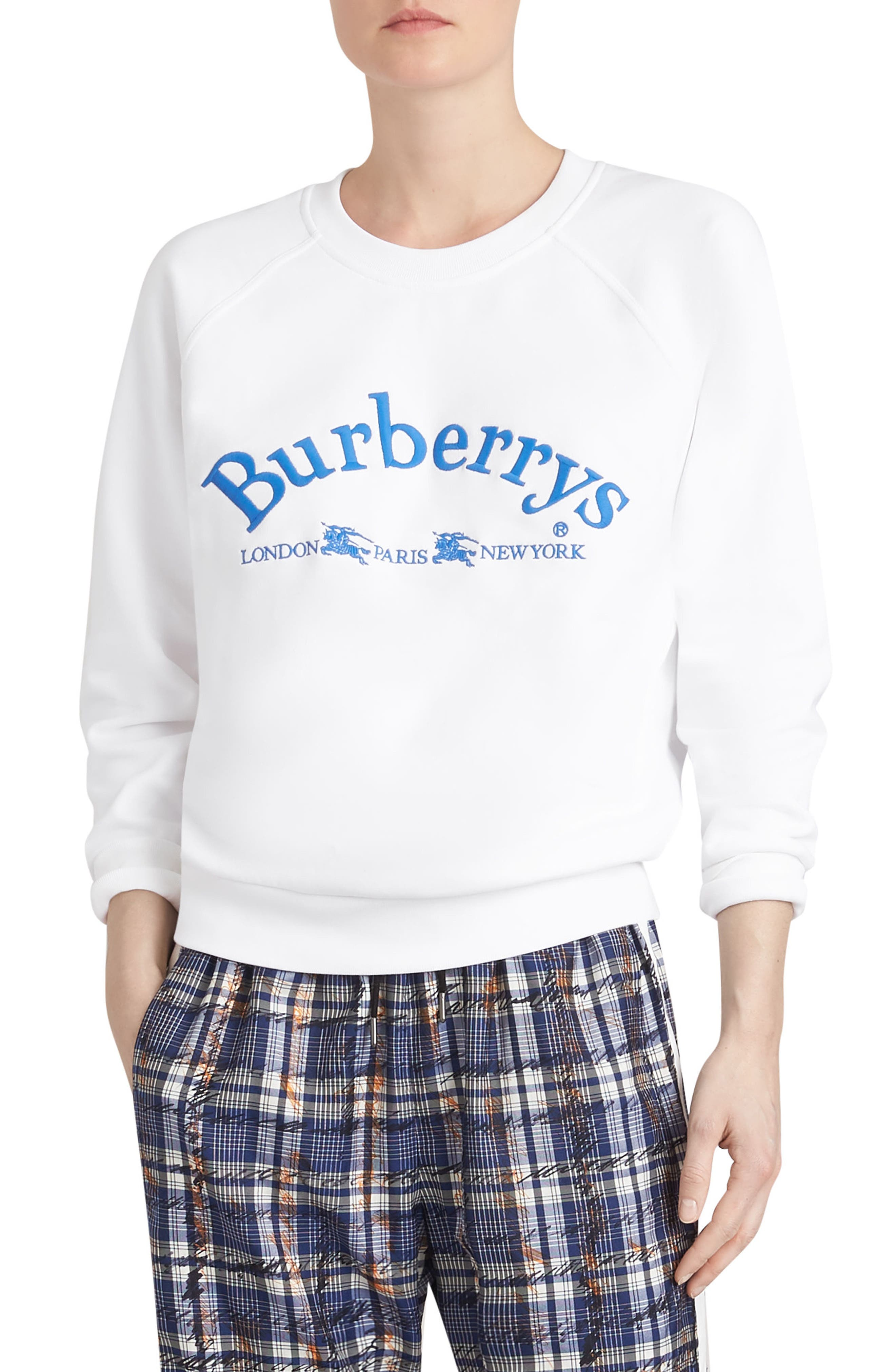Battarni Embroidered Logo Sweatshirt,                         Main,                         color, WHITE