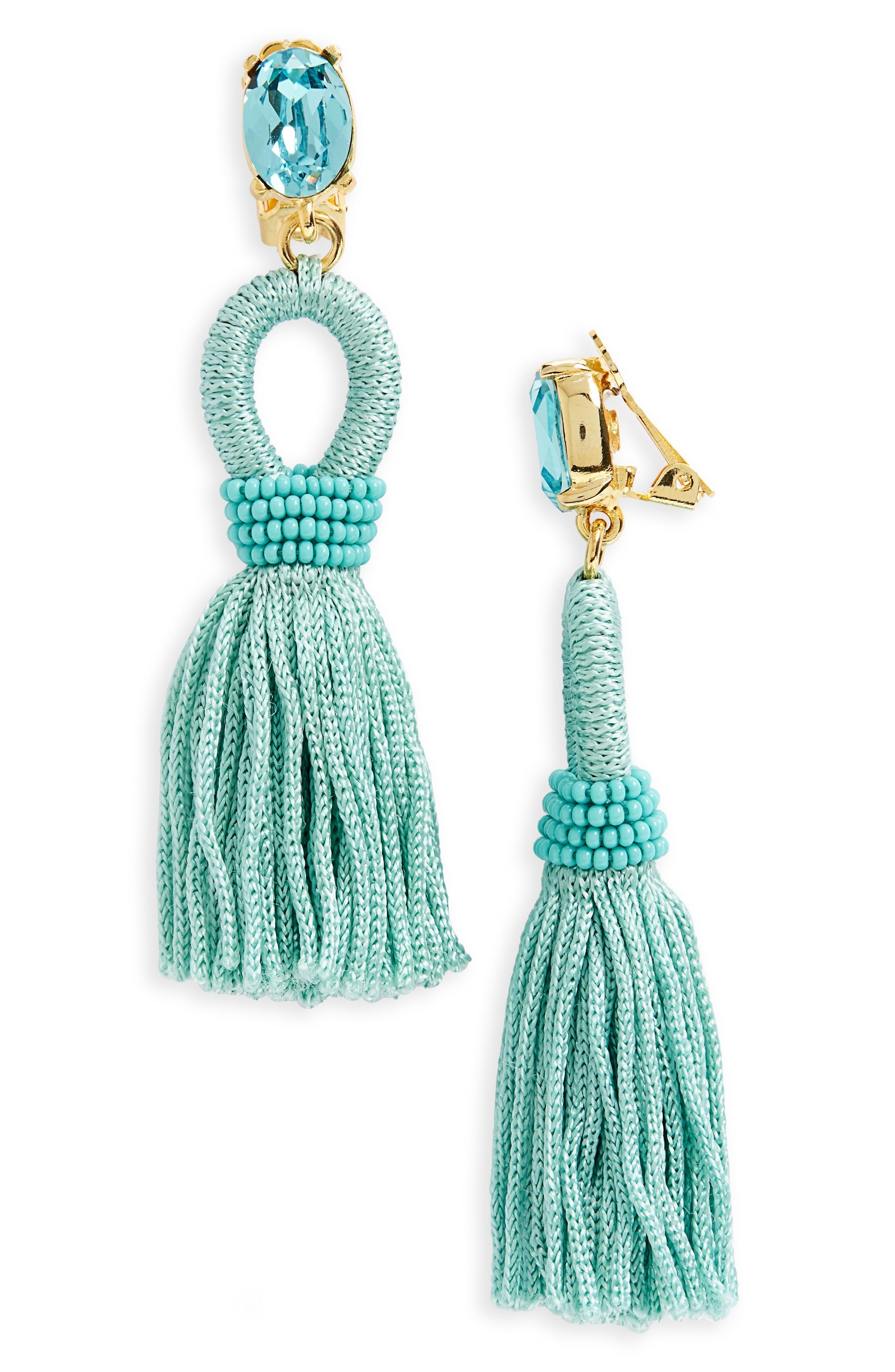 Silk Tassel Drop Earrings,                             Main thumbnail 6, color,