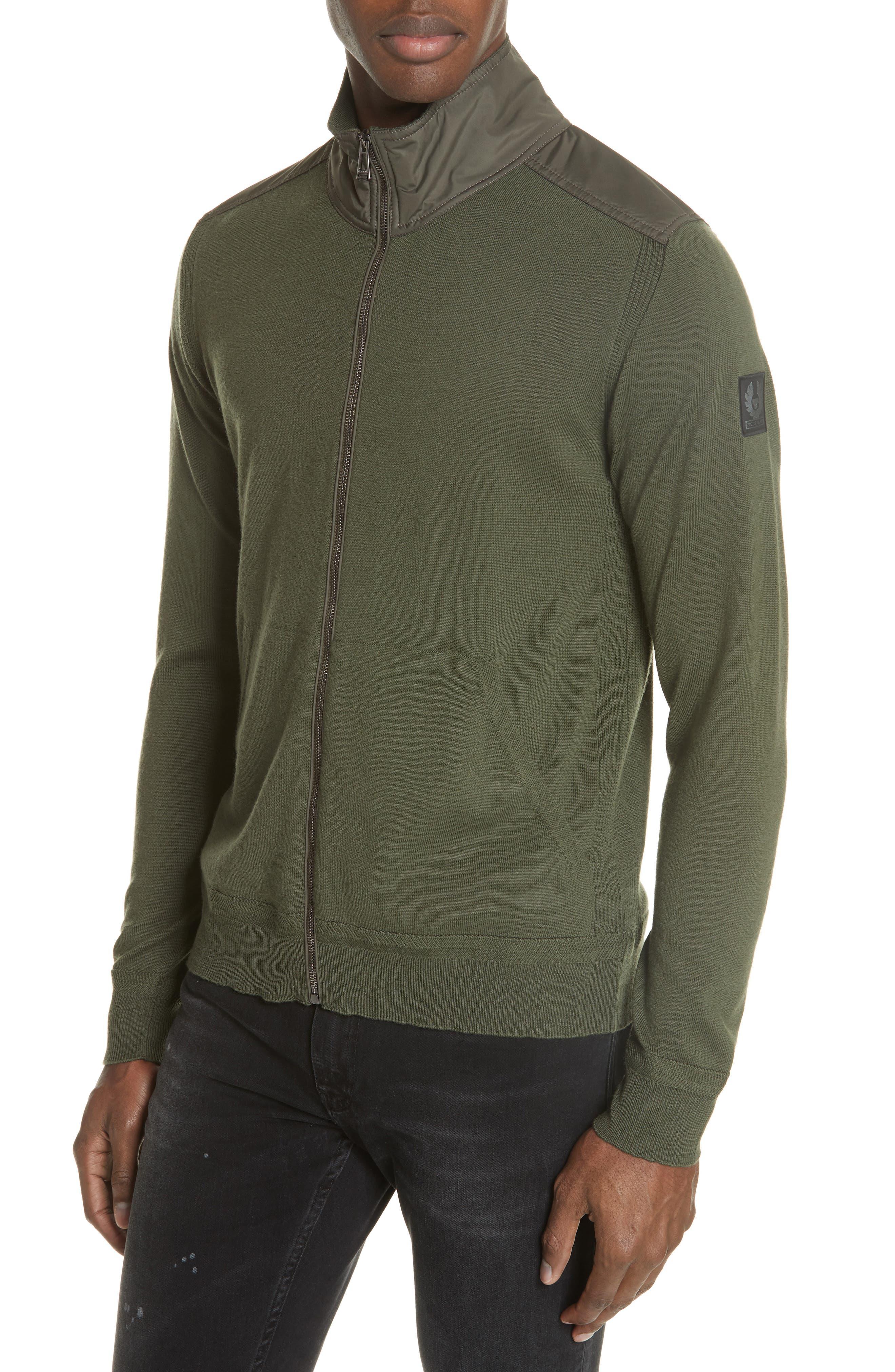 Belstaff Coombe Wood Merino Wool Zip Sweatshirt, Green