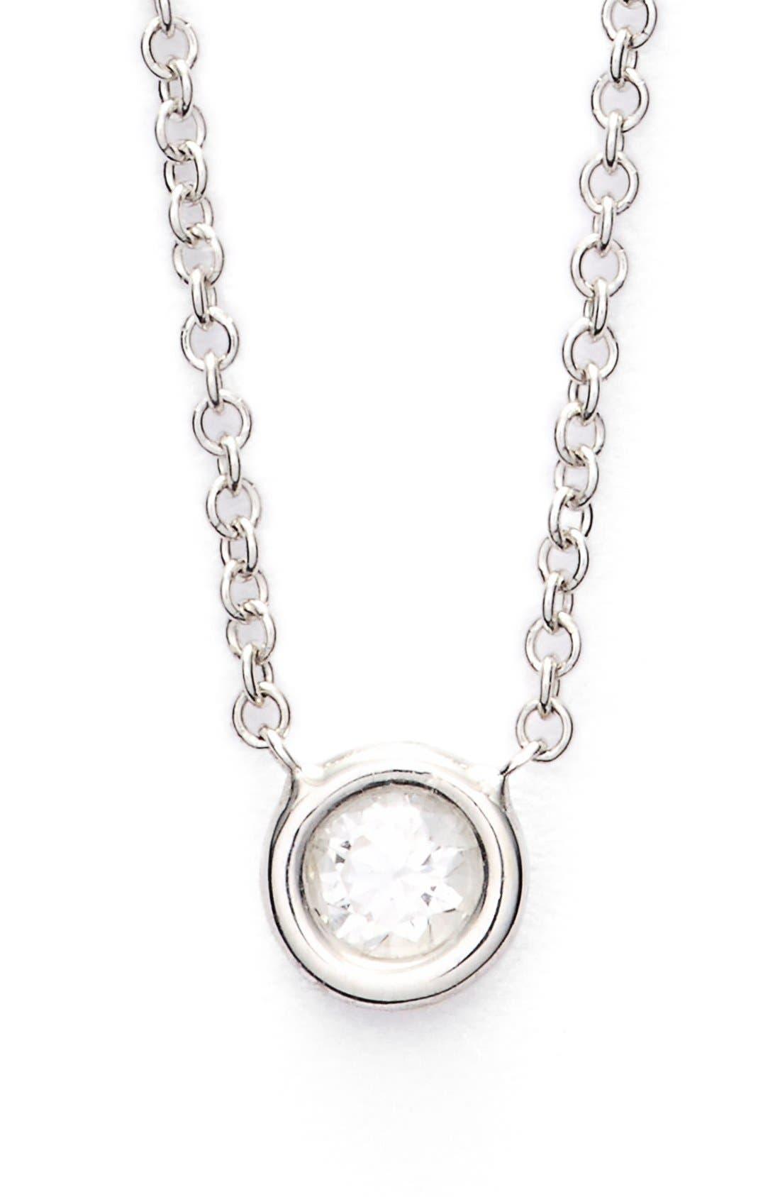 Small Diamond Solitaire Pendant Necklace,                         Main,                         color, 711