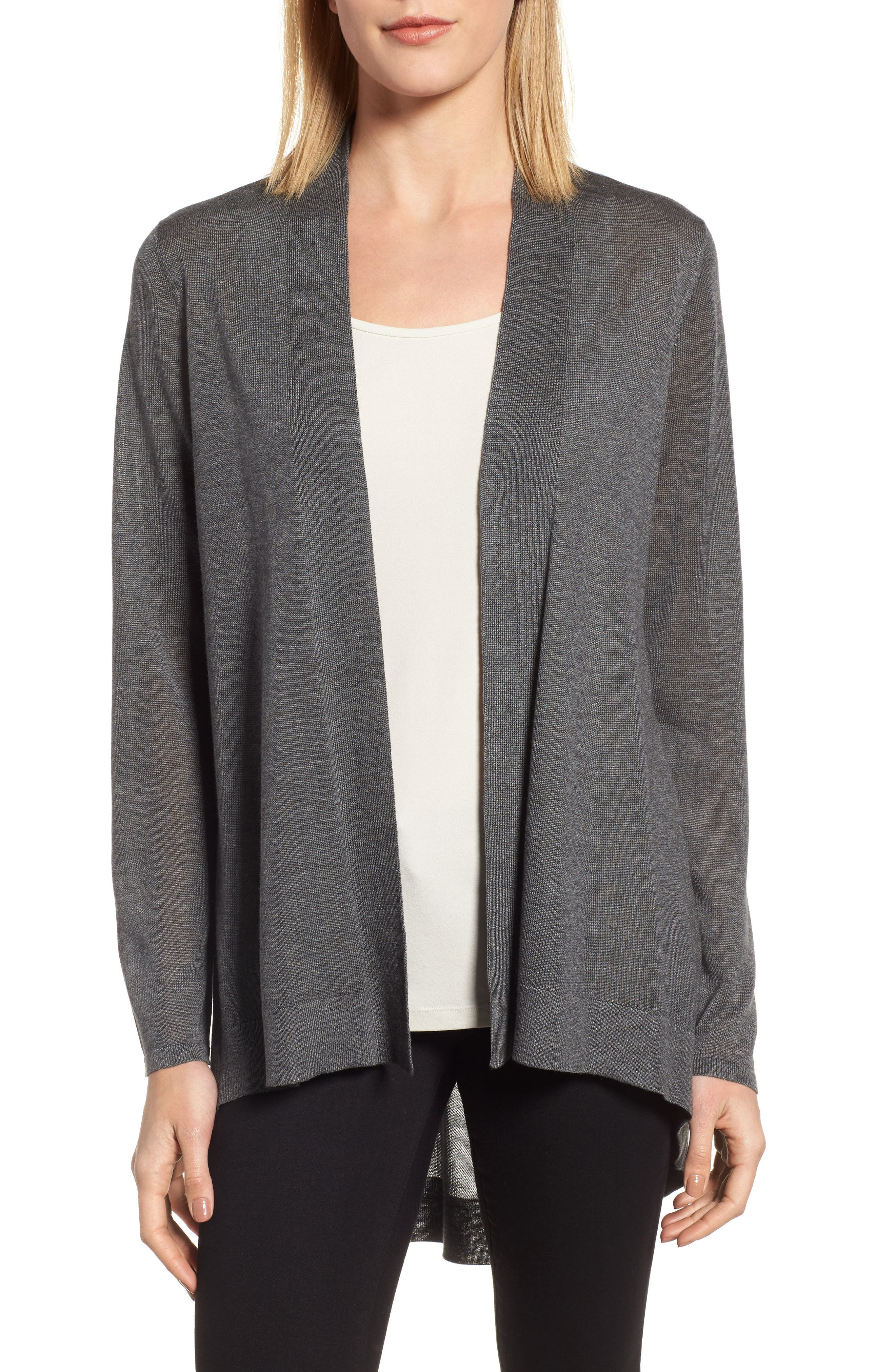 Tencel<sup>®</sup> Lyocell & Merino Wool Shaped Cardigan,                         Main,                         color, 030