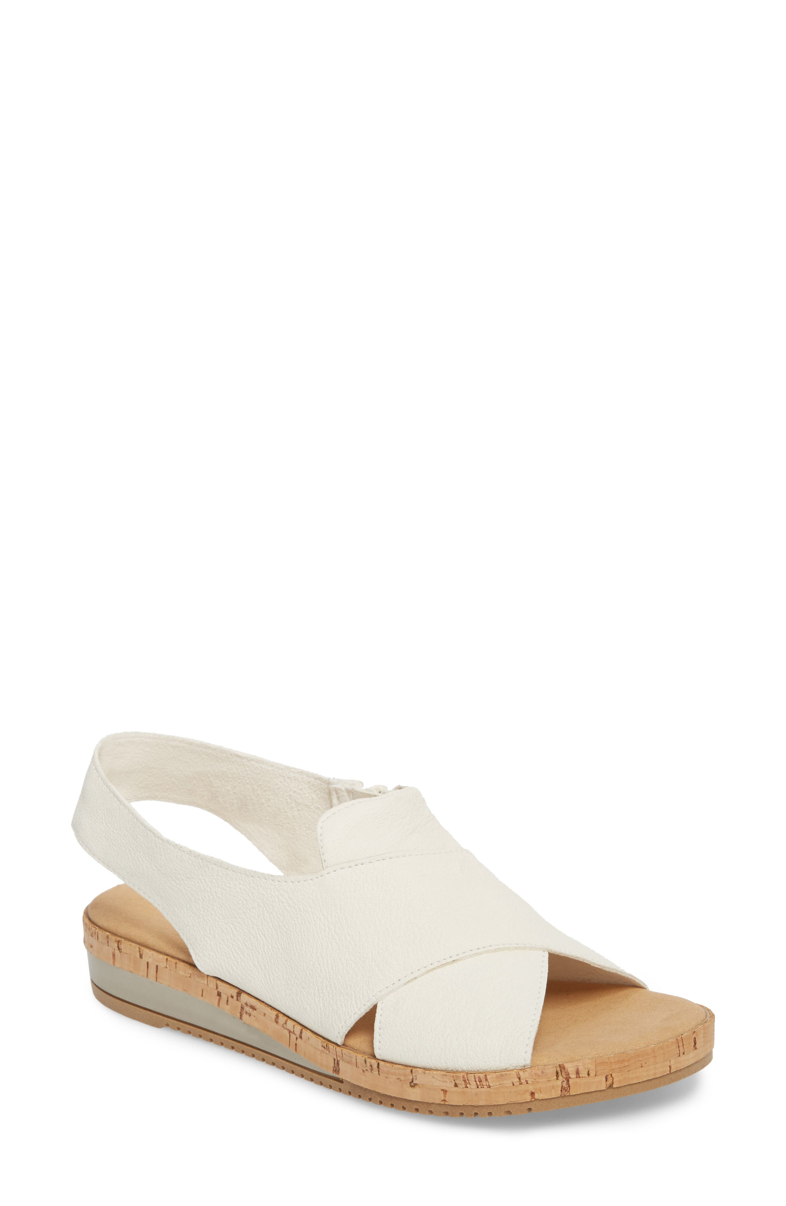 Sylke Sandal,                         Main,                         color, WHITE LEATHER