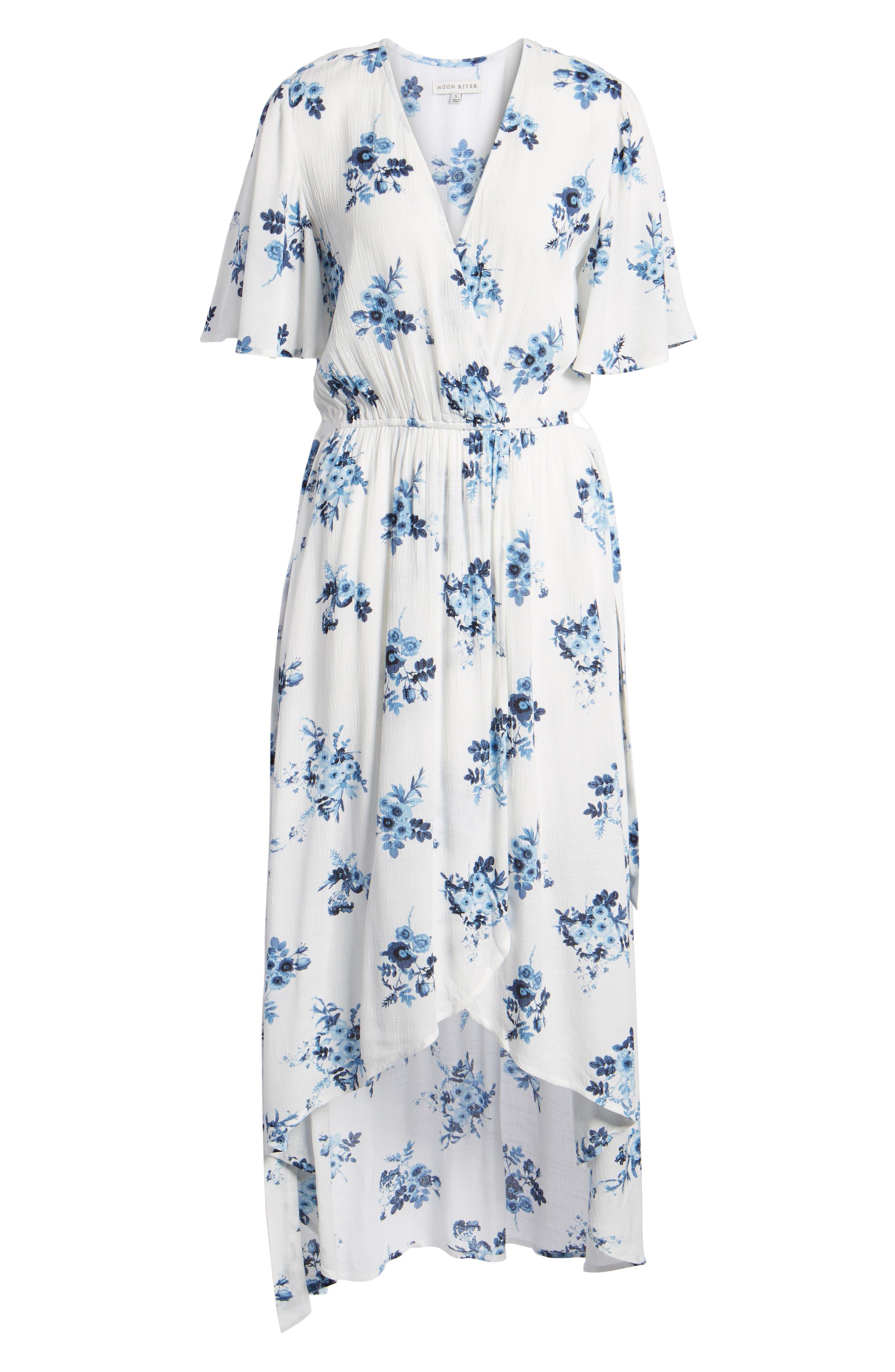 Floral Midi Wrap Dress,                             Alternate thumbnail 6, color,