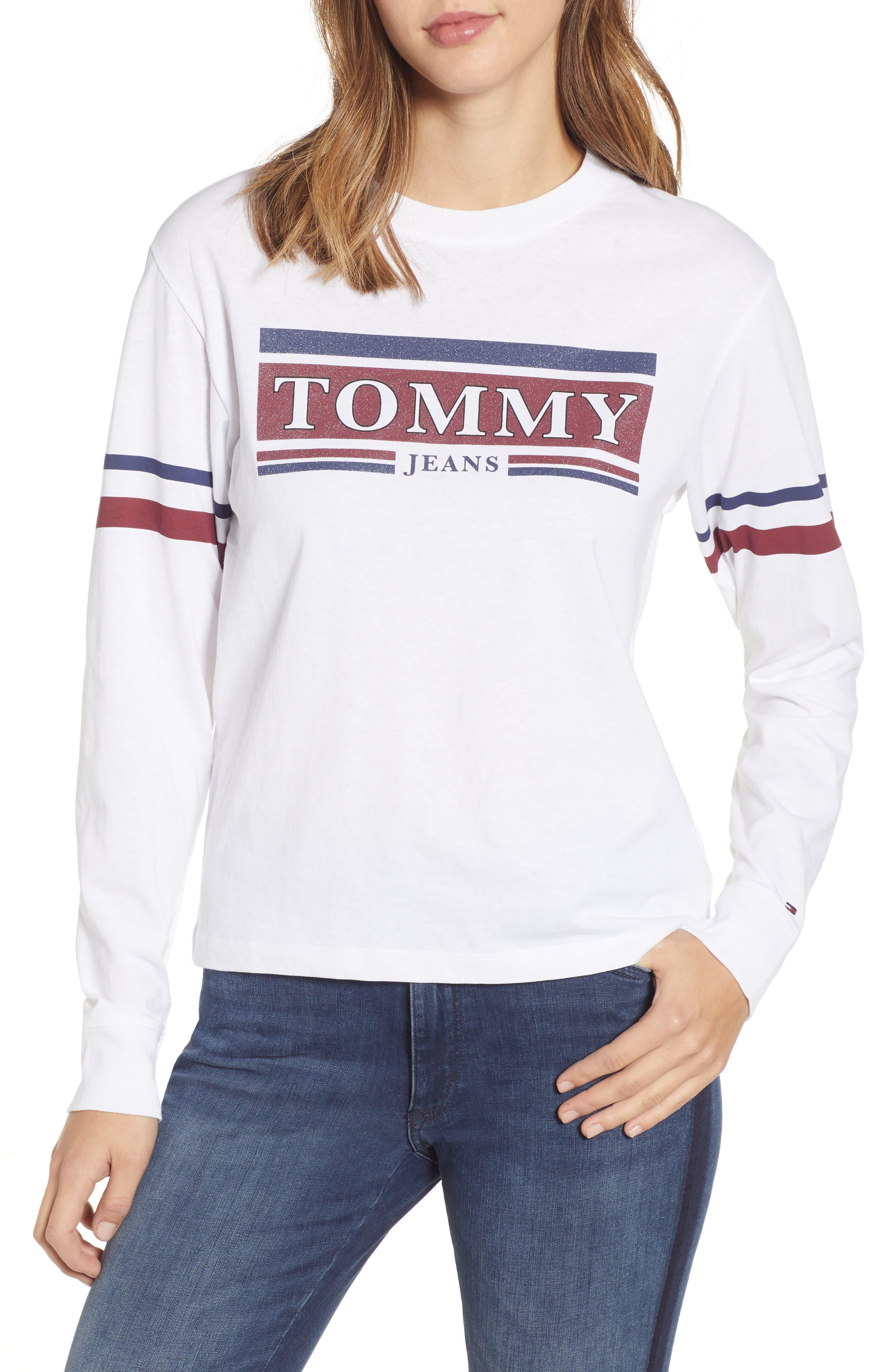 Tommy Jeans Logo Stripe Tee, White