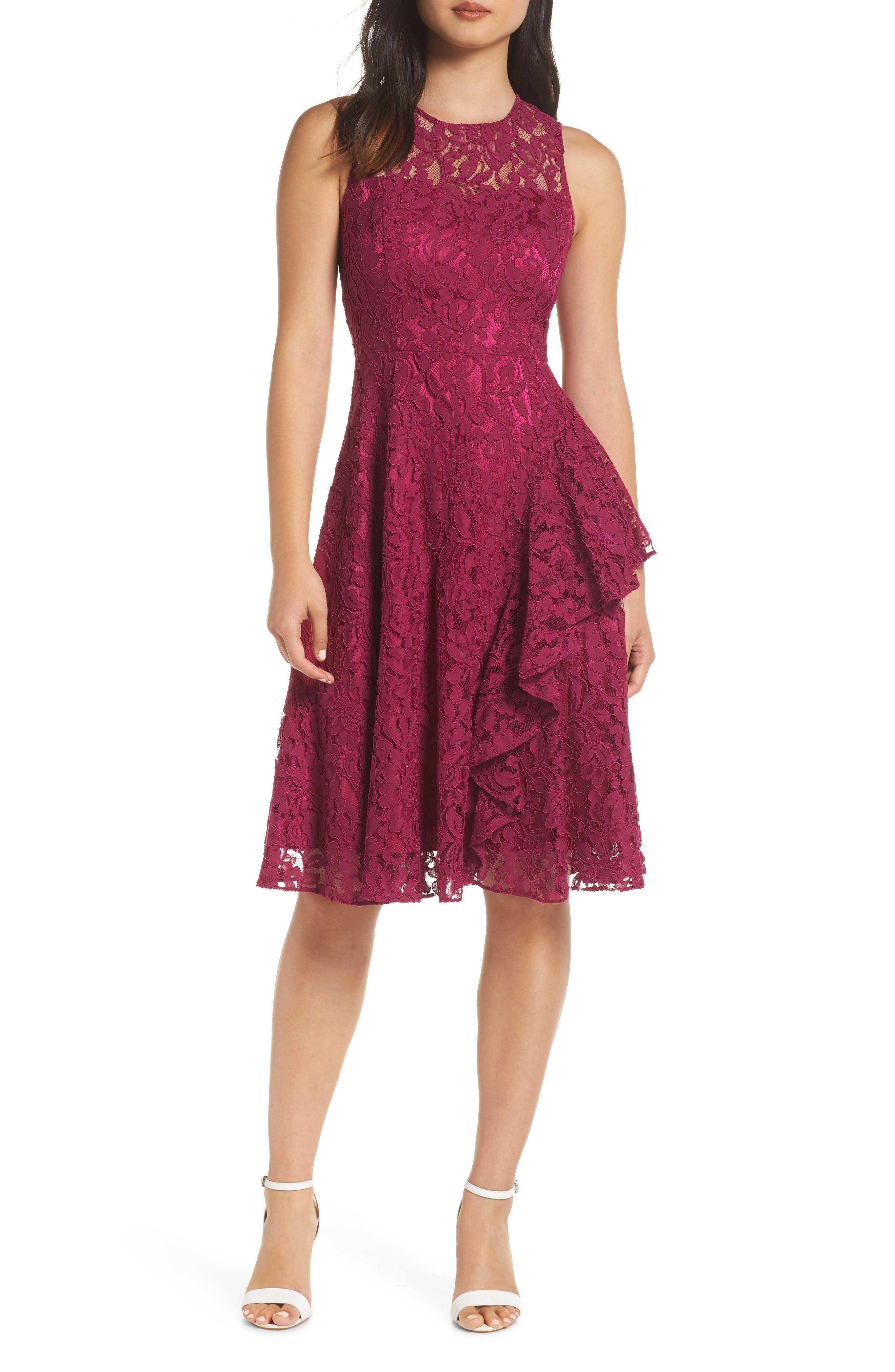 Petite Eliza J Ruffle A-Line Lace Dress, Pink