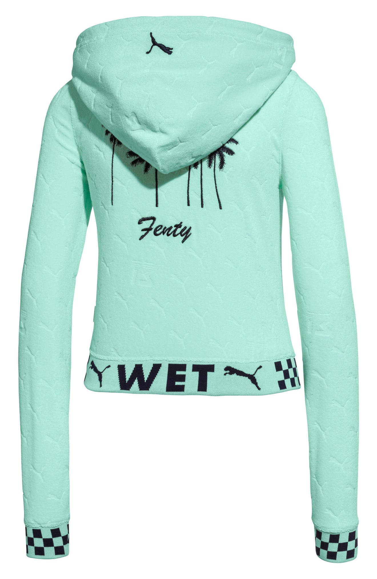 PUMA by Rihanna Embossed Terry Cloth Hoodie,                             Alternate thumbnail 3, color,                             400